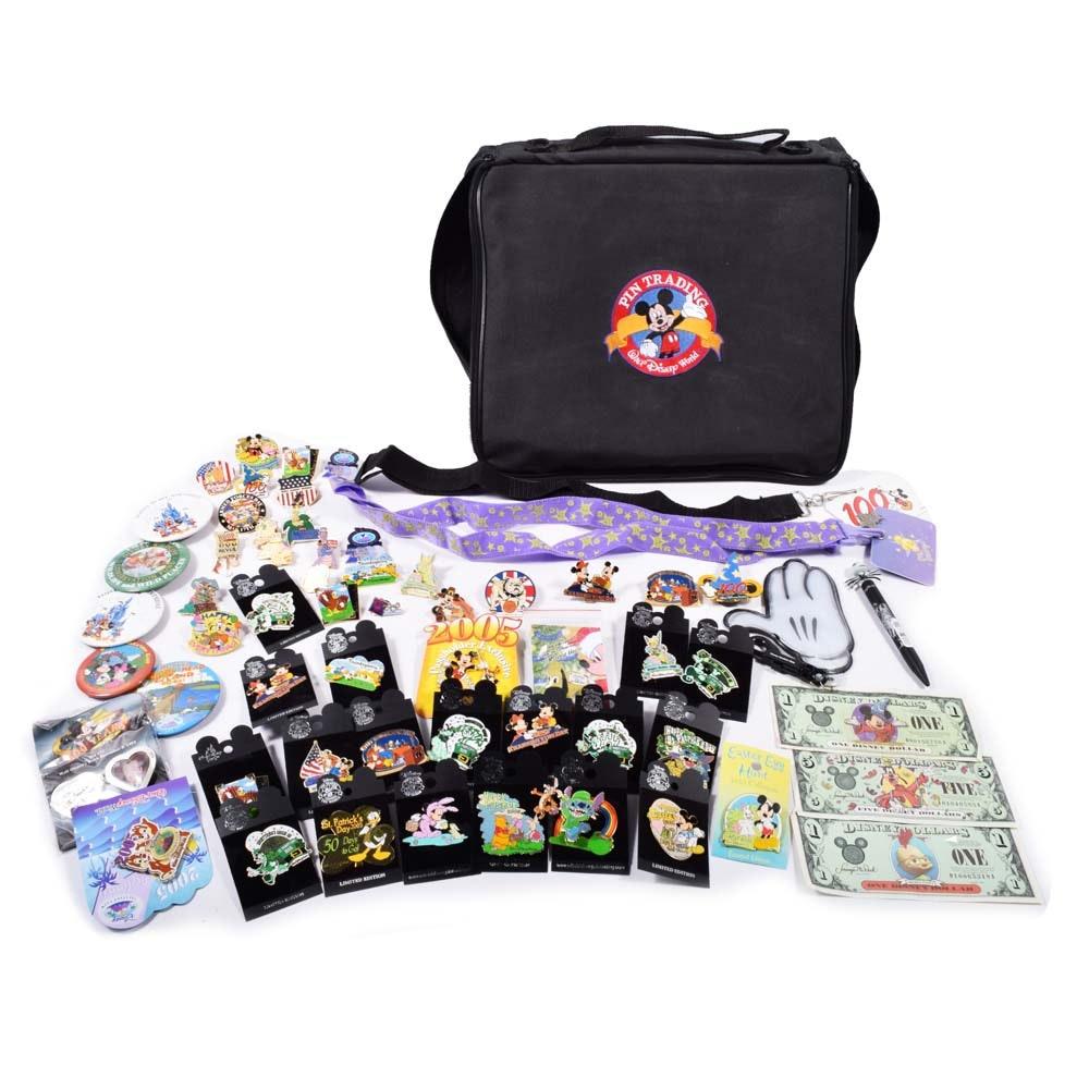 Walt Disney World Park Collector's Pins and Bag
