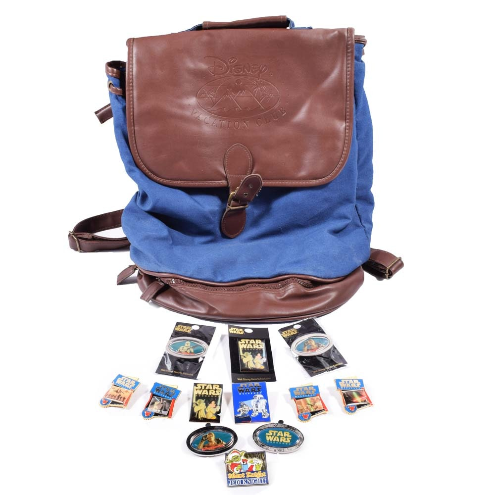 """Walt Disney """"Star Wars Weekends"""" Collector Pins and Back Pack"""