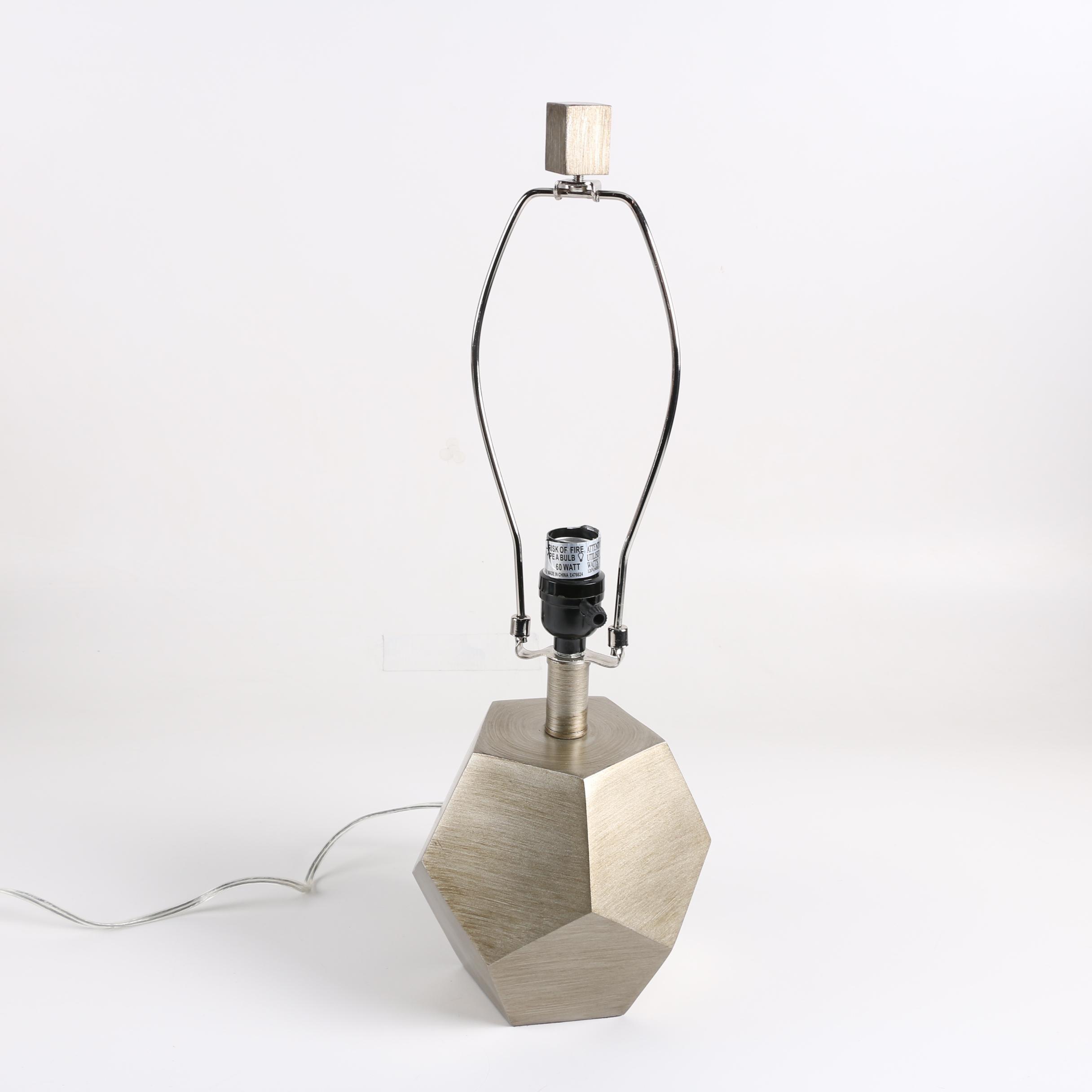Geometric Metallic Silver Ceramic Table Lamp