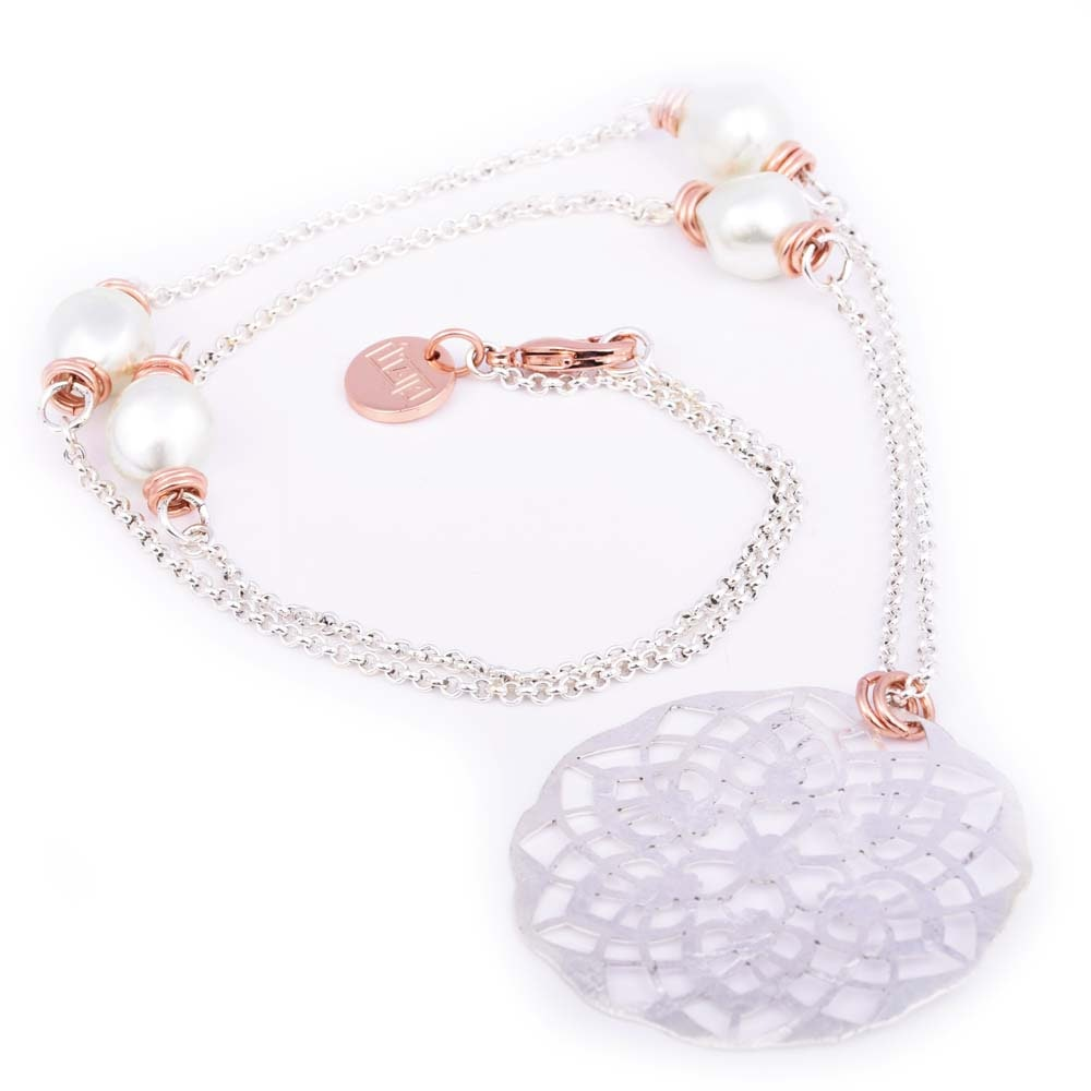 Plated Silver Textured Cutout Circle Pendant and Beaded Necklace