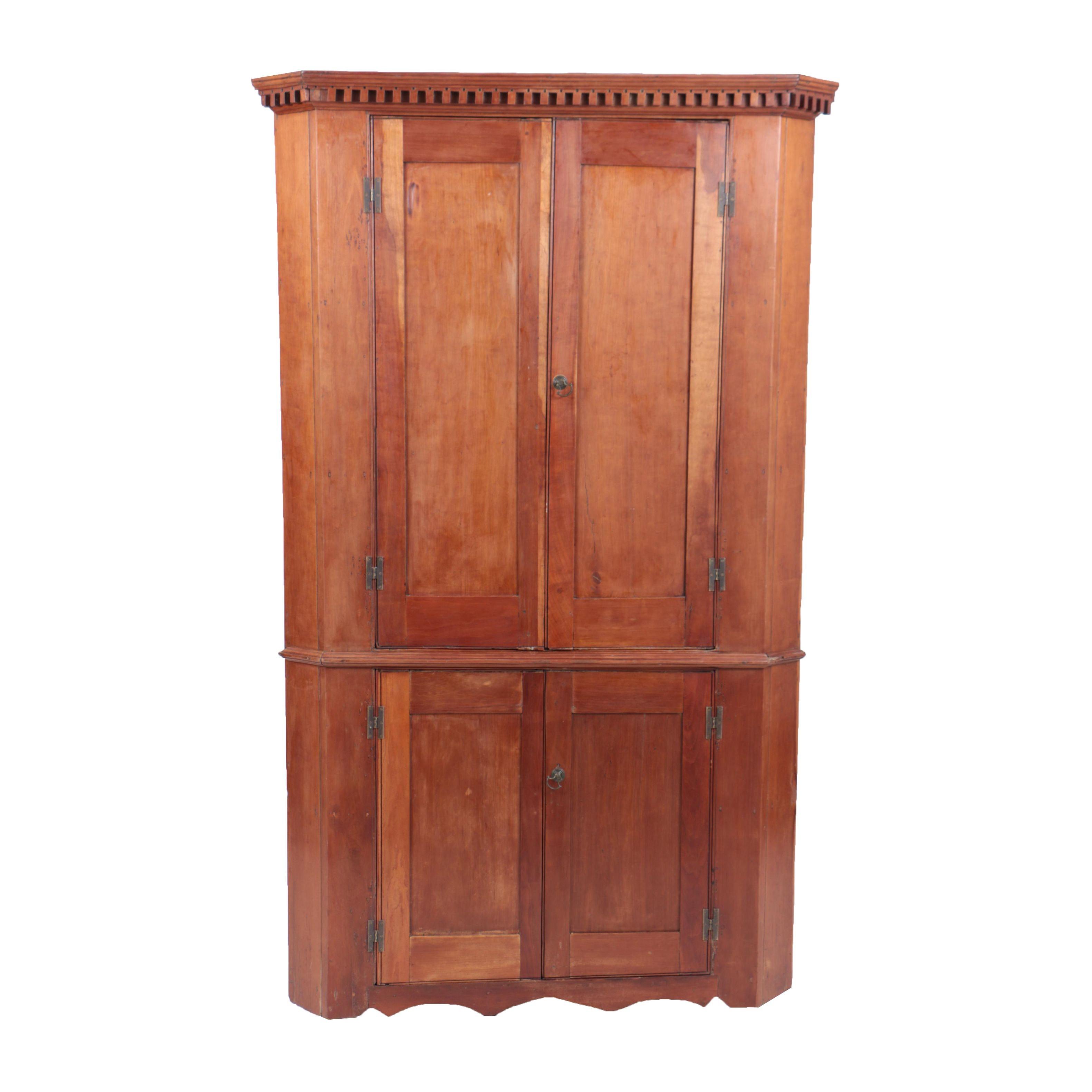 Antique Late Federal Cherry One-Piece Corner Cupboard
