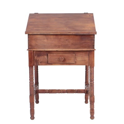 Antique Walnut and Cherry Two-Piece Standing Desk-on-Frame