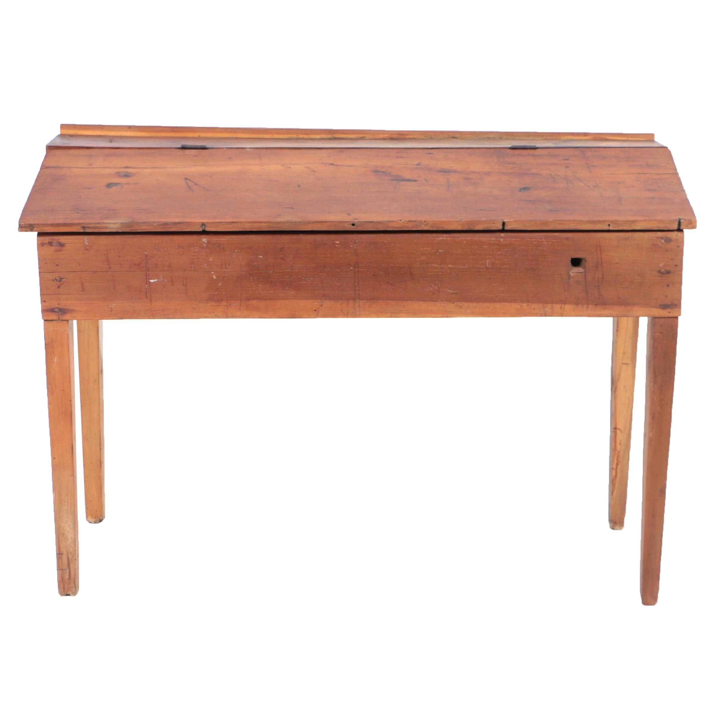 Antique Poplar Lift-Top Writing Desk