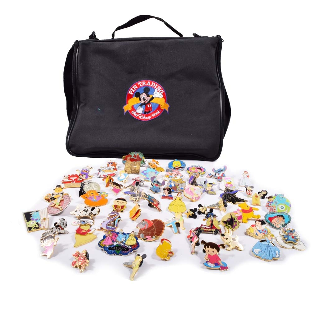 Walt Disney Collector's Character Pins and Bag
