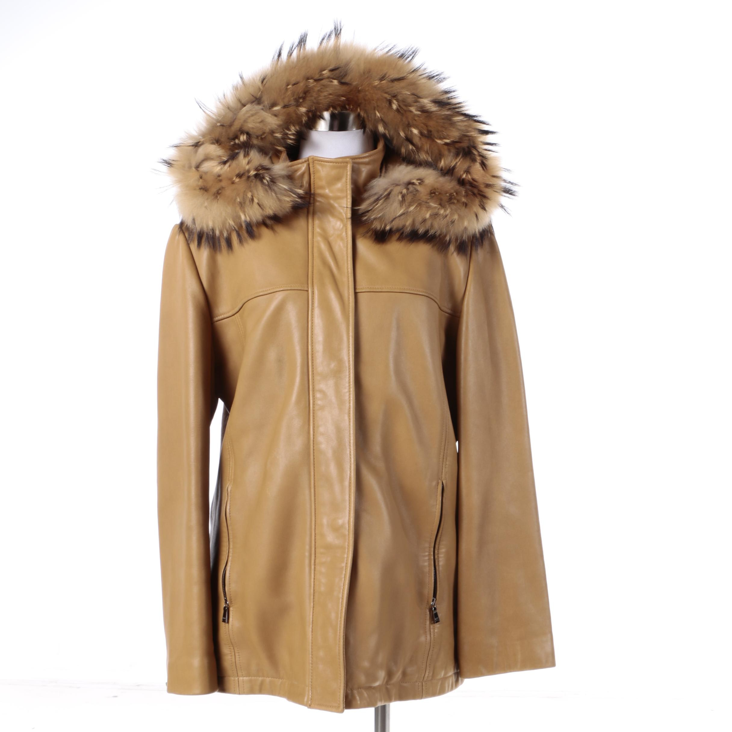 Women's Marc New York Andrew Marc Tan Leather Coat with Raccoon Fur Trim