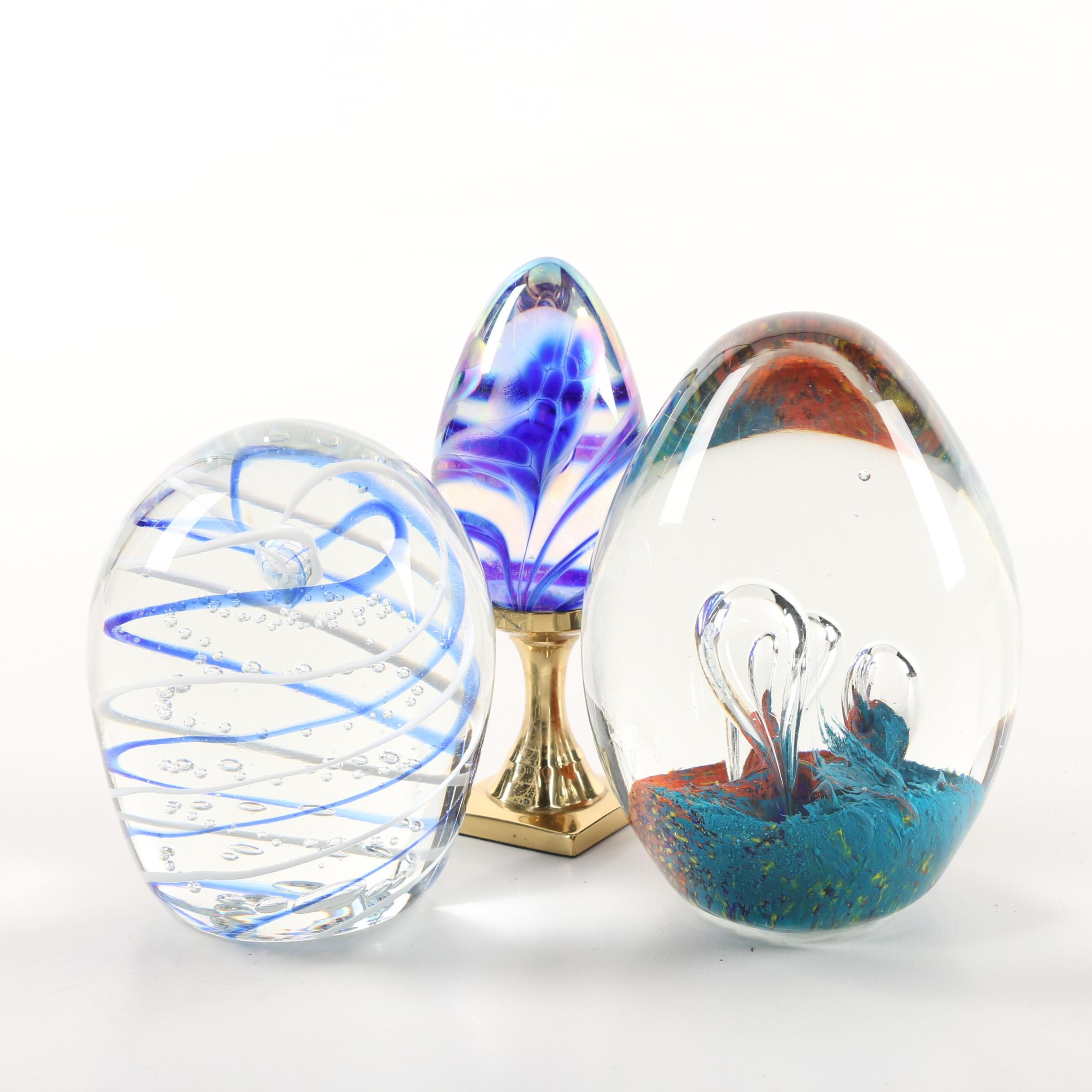 Art Glass Paperweights Including Gentile Glass and Glass Eye Studio