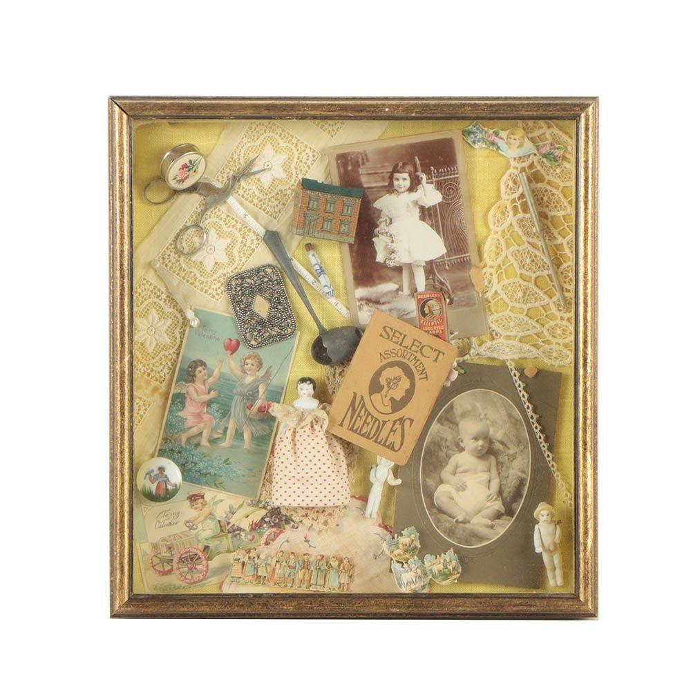 Shadow Box Collage with Antique Trinkets and Bisque Dolls