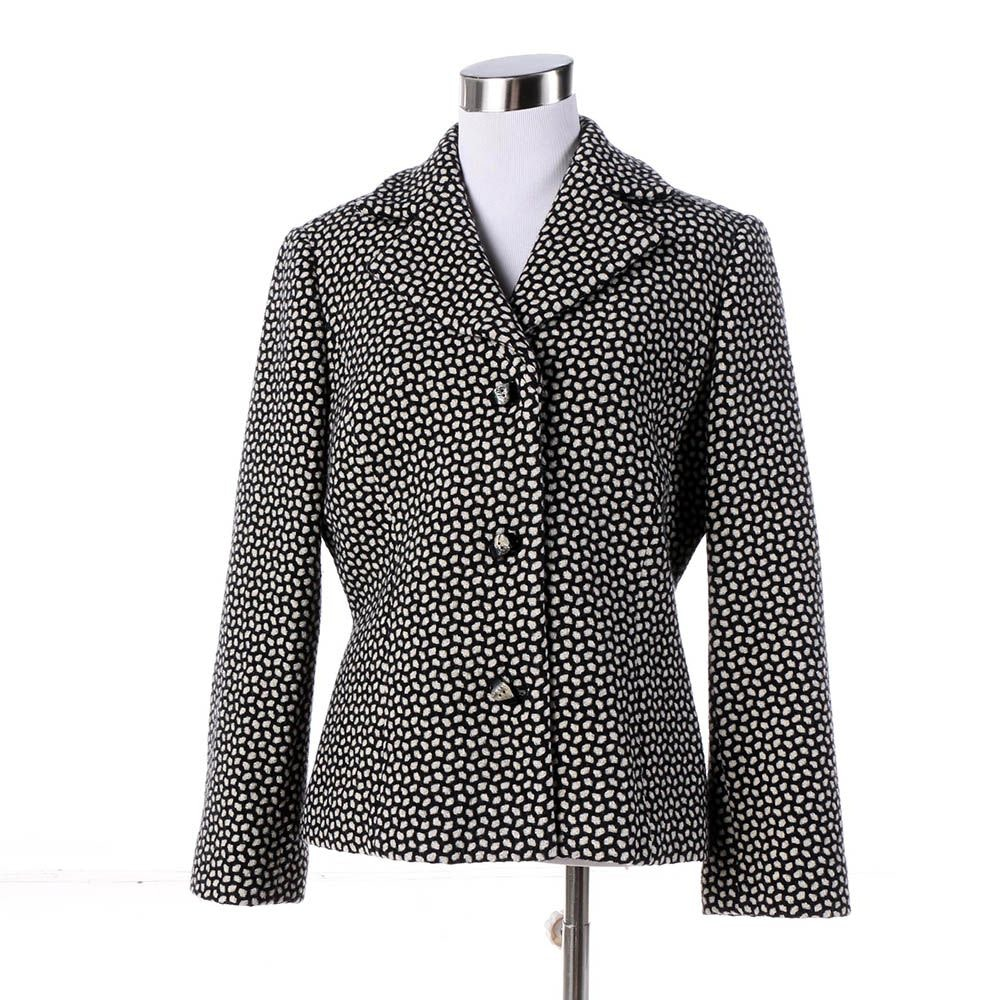 Women's Austin Reed Black and White Wool Blend Jacket