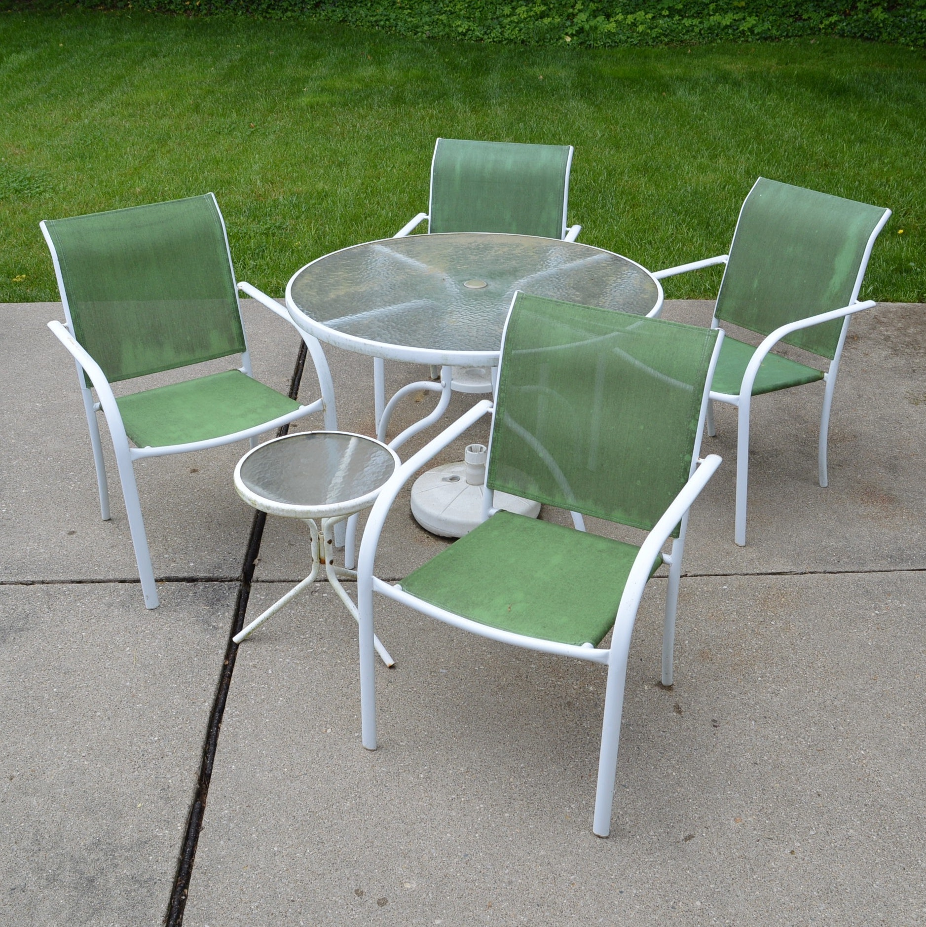 Patio Table and Four Chairs with Side Table