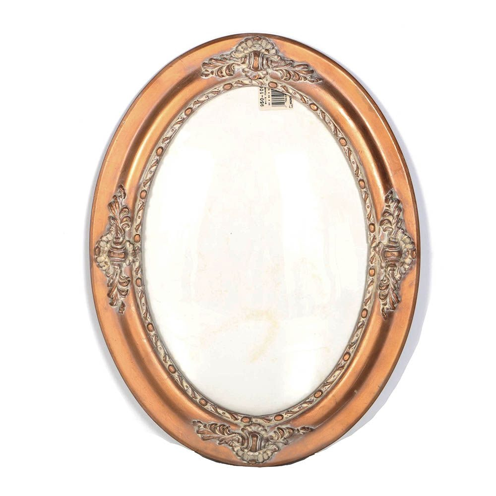 Wooden Oval Wall Frame with Carved Floral Accents