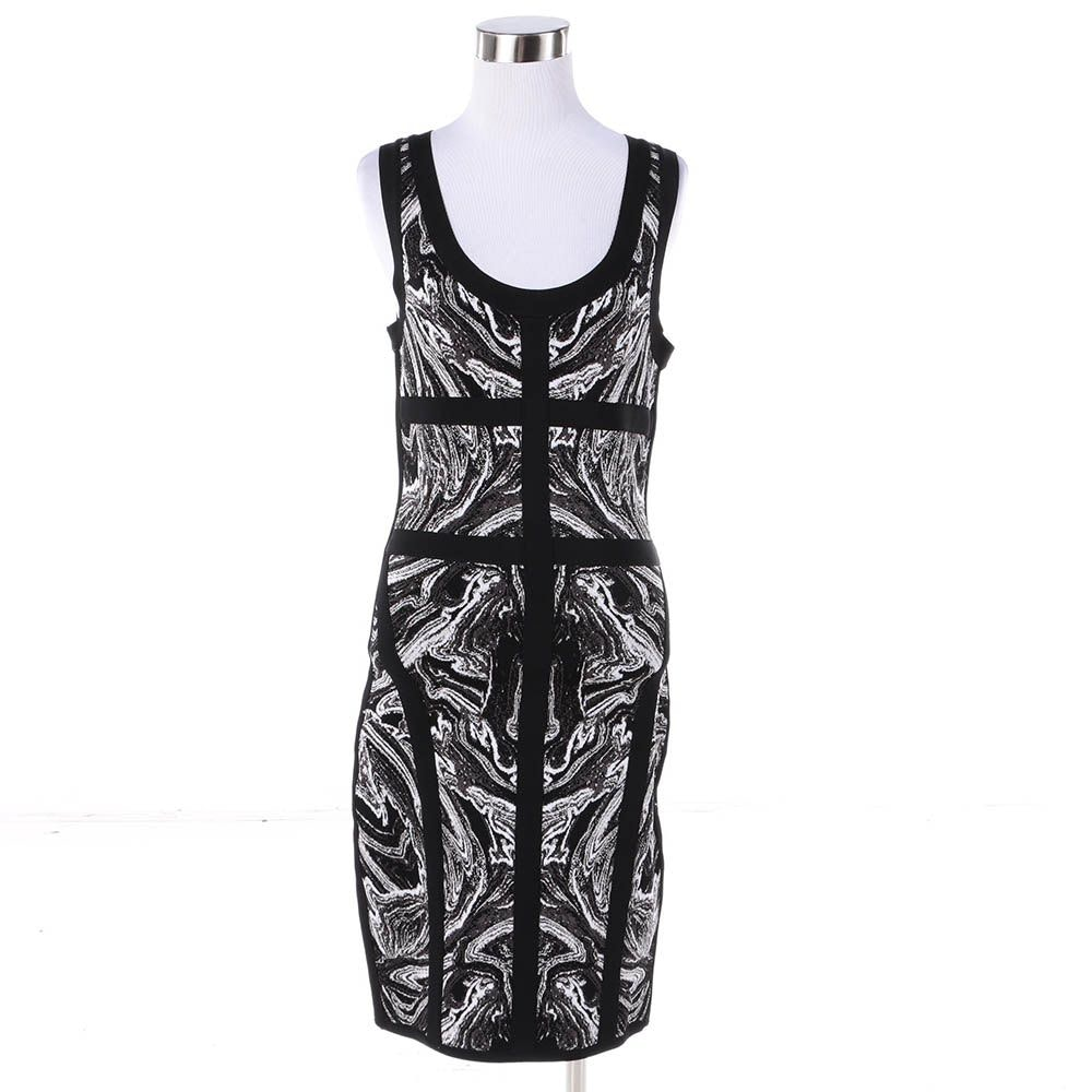 Robert Rodriguez Black and White Knit Sleeveless Bodycon Dress