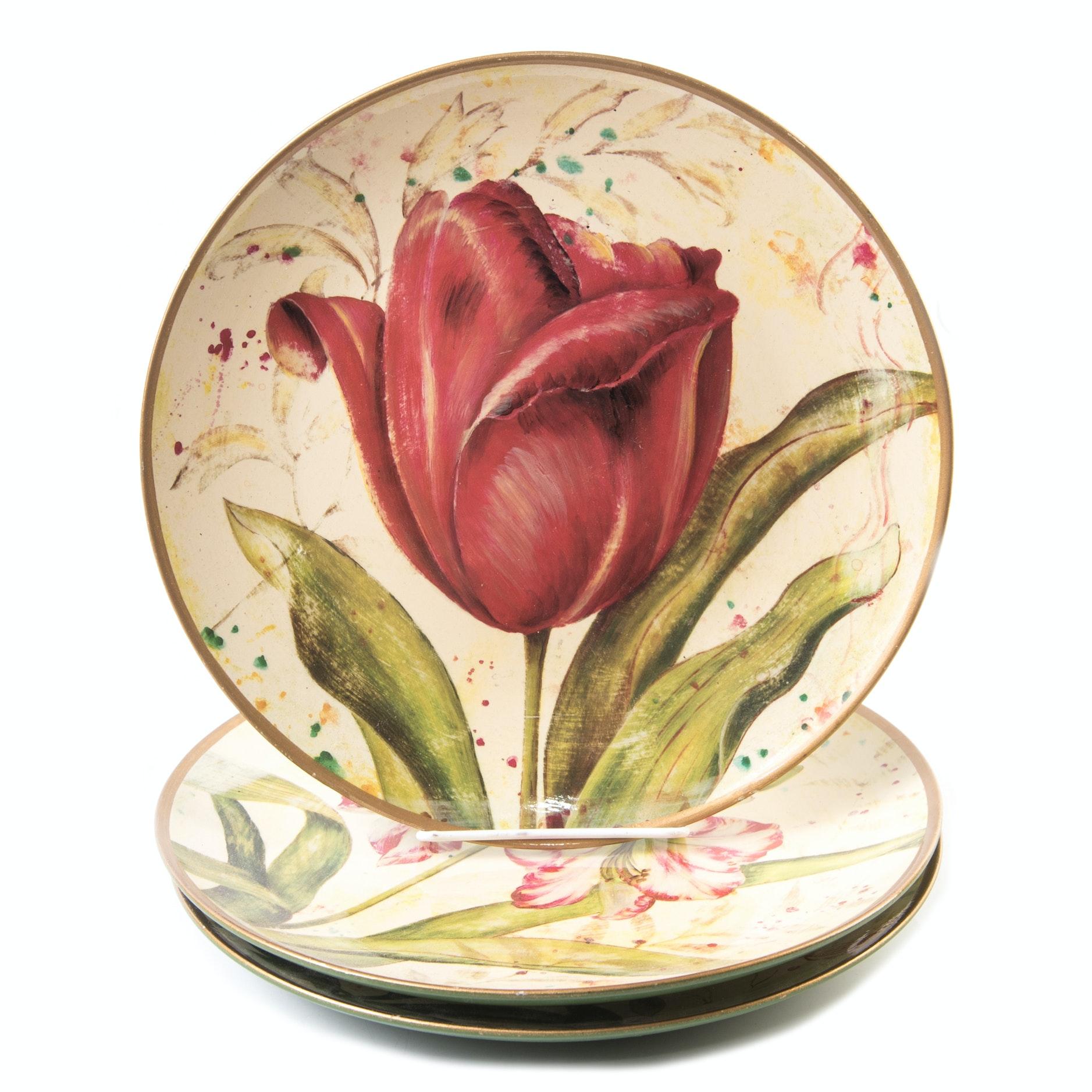Fabrice de Velleneuve Decorative Floral Plates