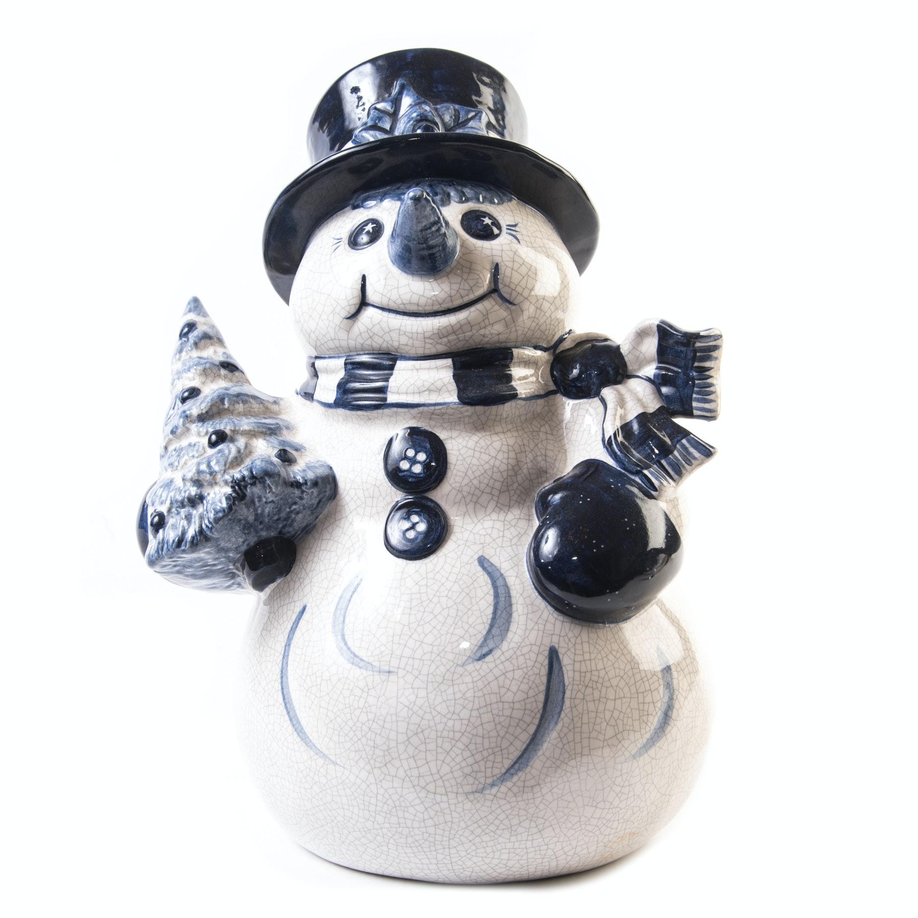 Ceramic Snowman Figurine