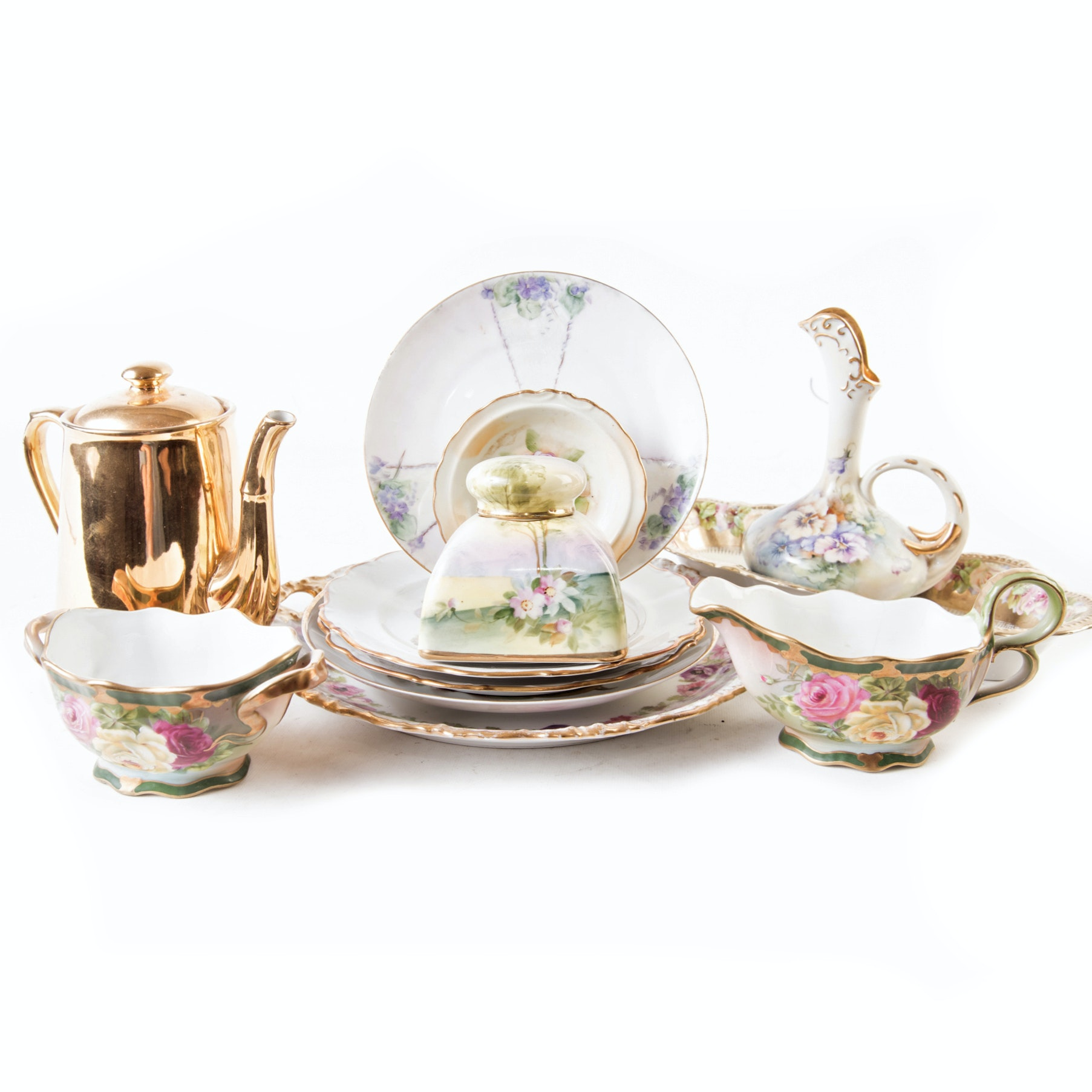 Vintage Hand Painted and Gilt Decorative Tableware