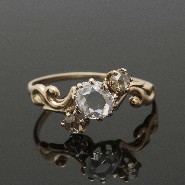 Art Nouveau 10K Yellow Gold Three Diamond Ring