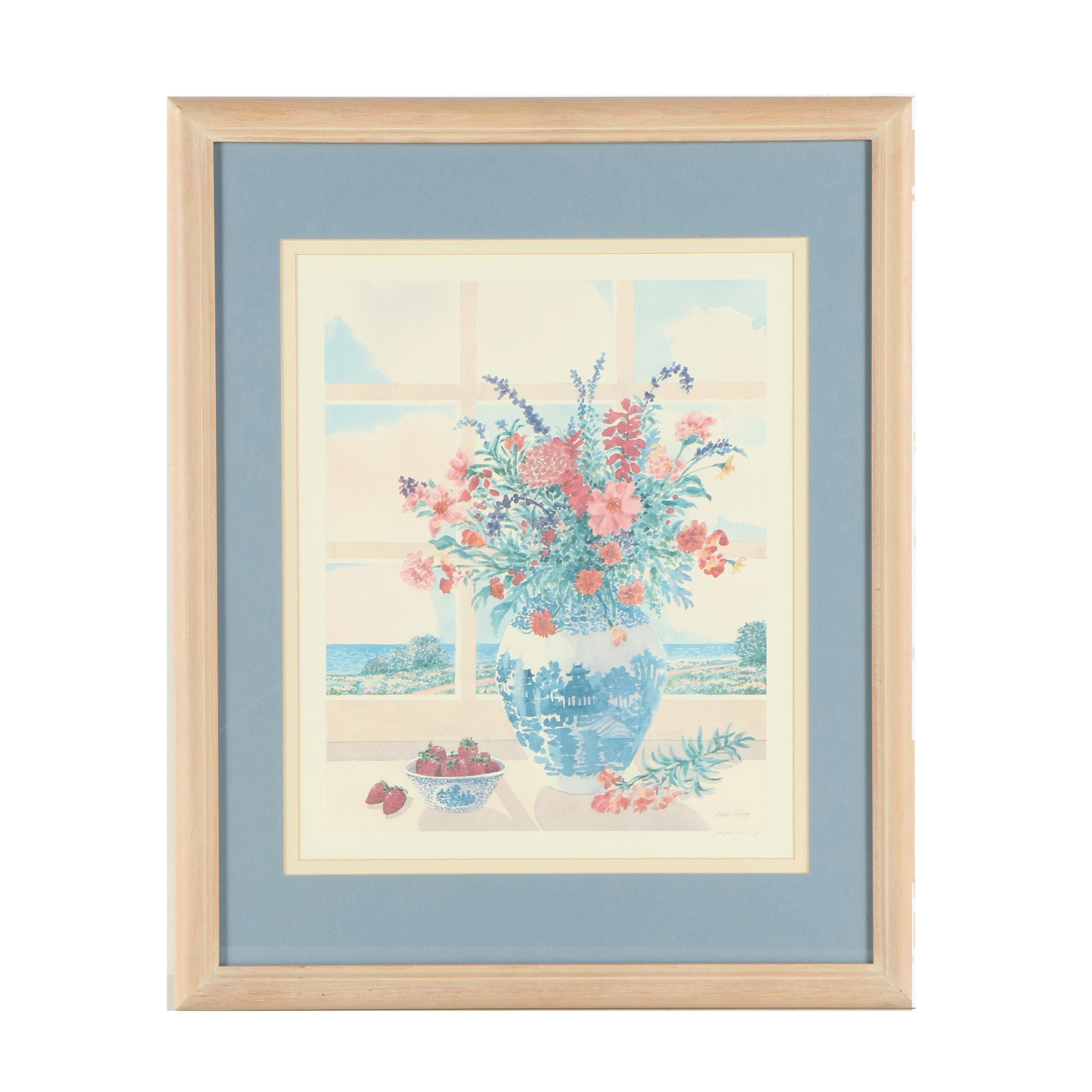 Peter Wong Offset Lithograph of a Floral Arrangement