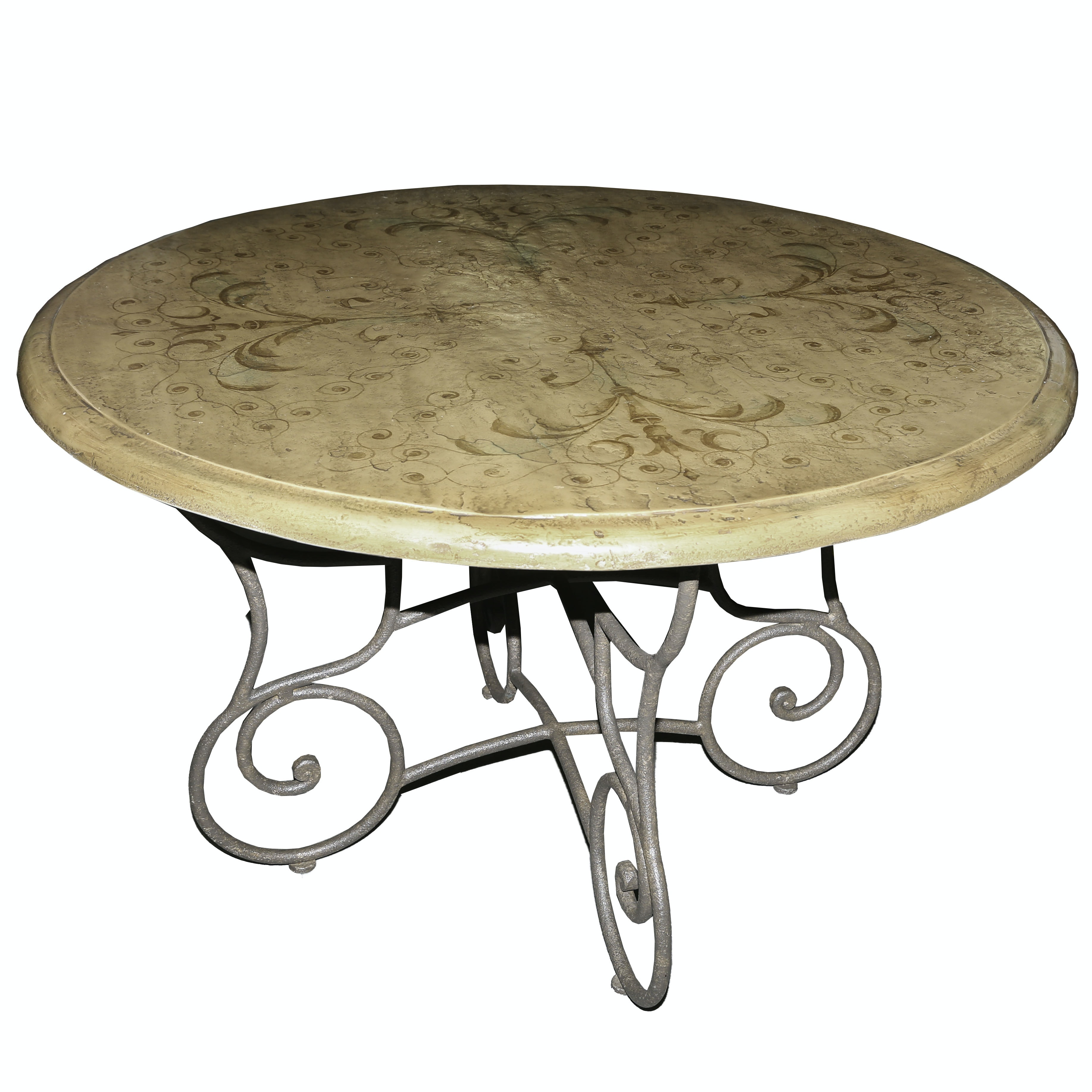 Neoclassical Inspired Dining Table with Iron Base