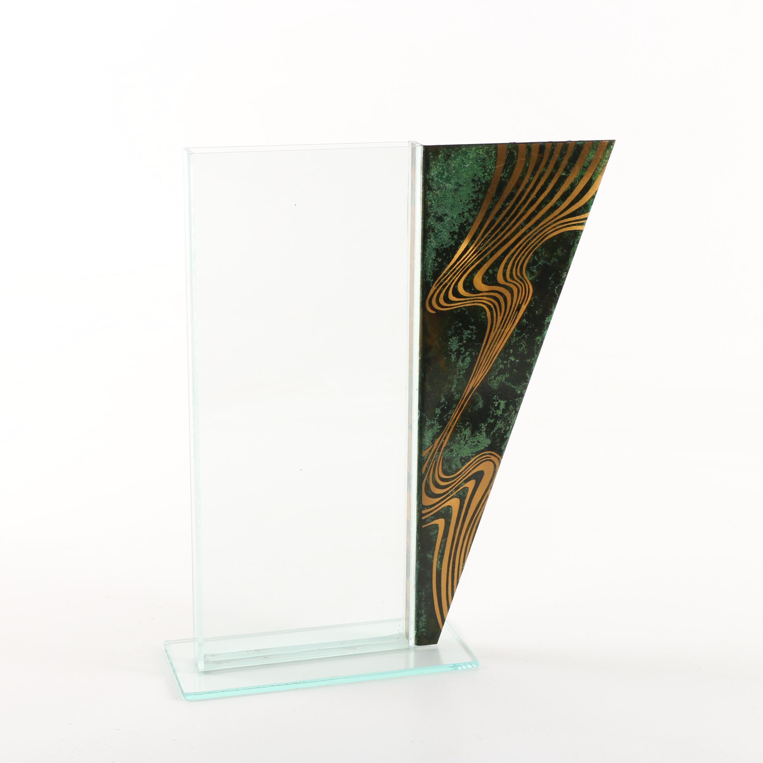 Modern Art Glass and Metal Vase