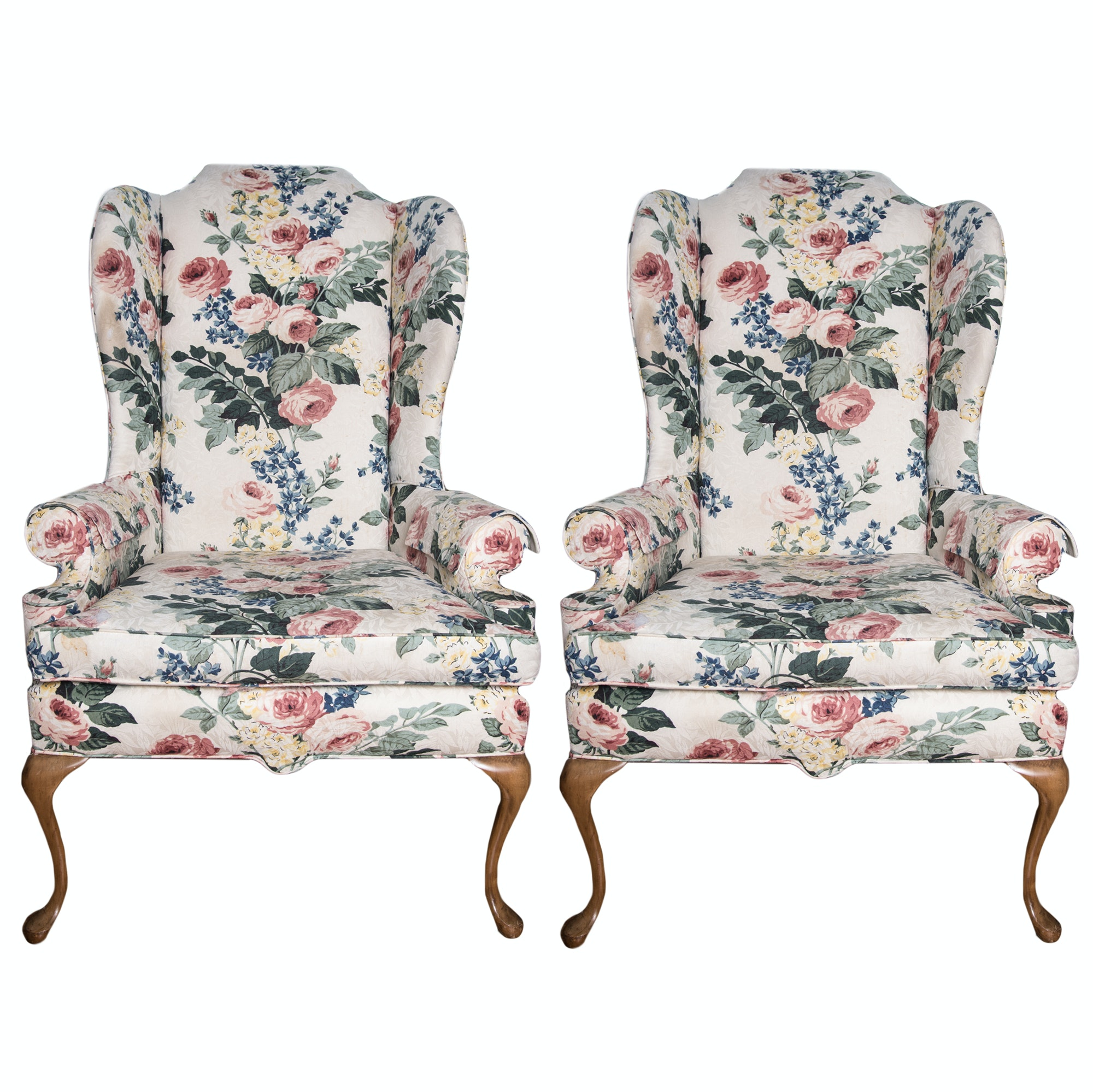 Floral Upholstered Wing Back Chairs