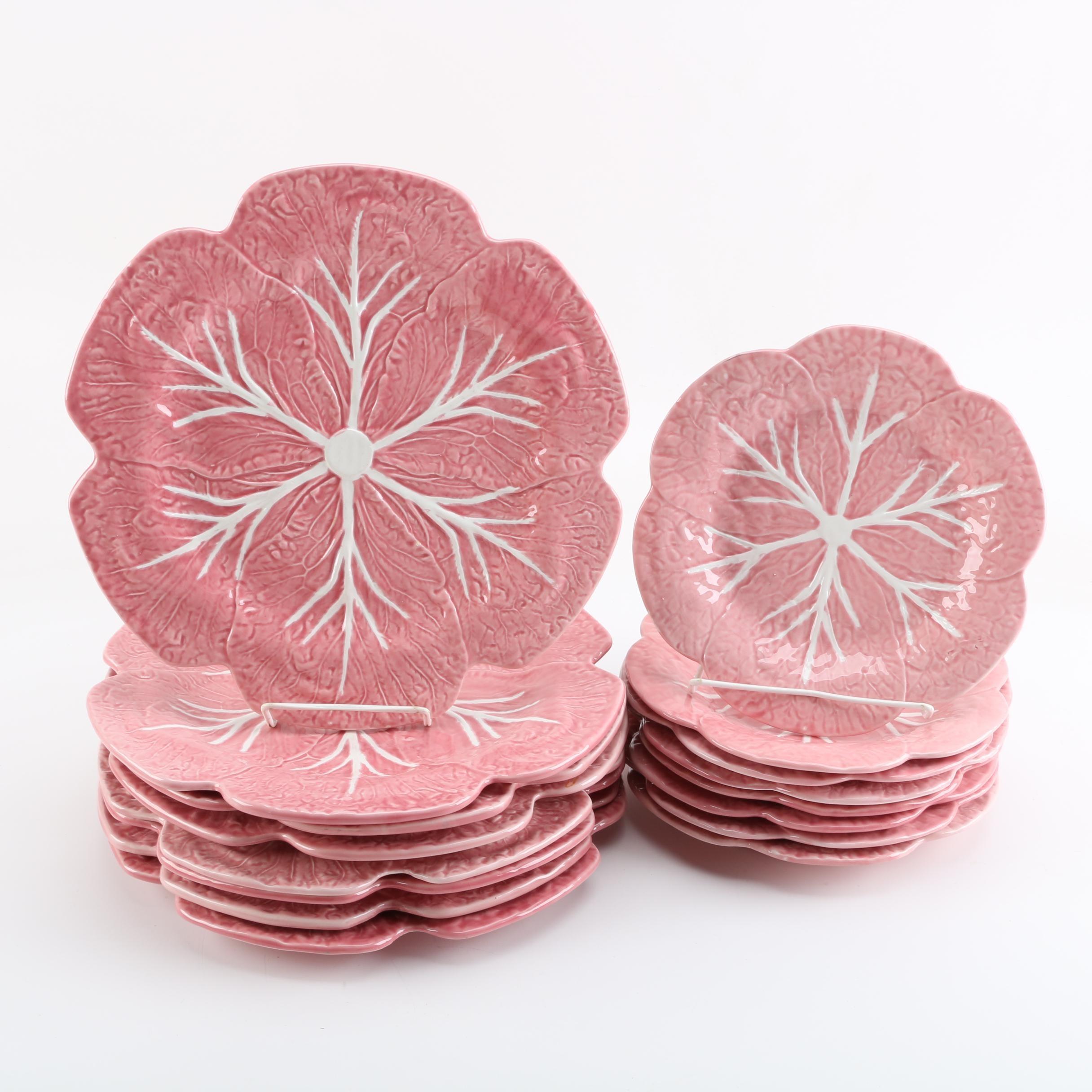 "Bordallo Pinheiro ""Cabbage Pink"" Portuguese Pottery"