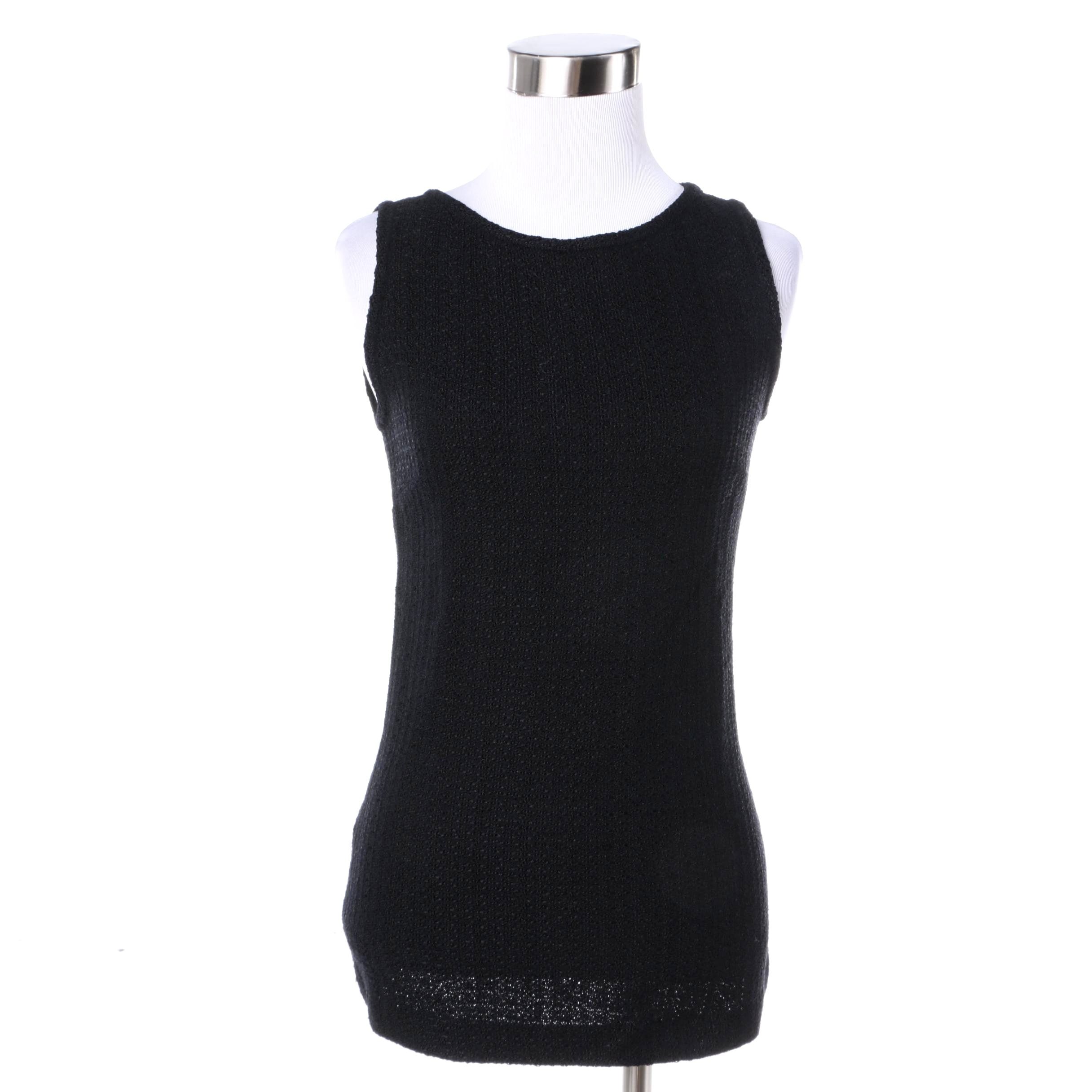 Women's St. John Collection Black Knit Sleeveless Top