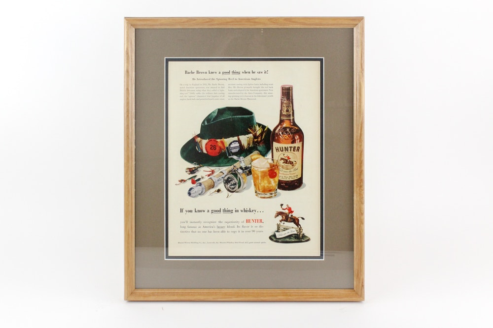 "Original 1943 ""Hunter Bourbon"" Magazine Advertisement"