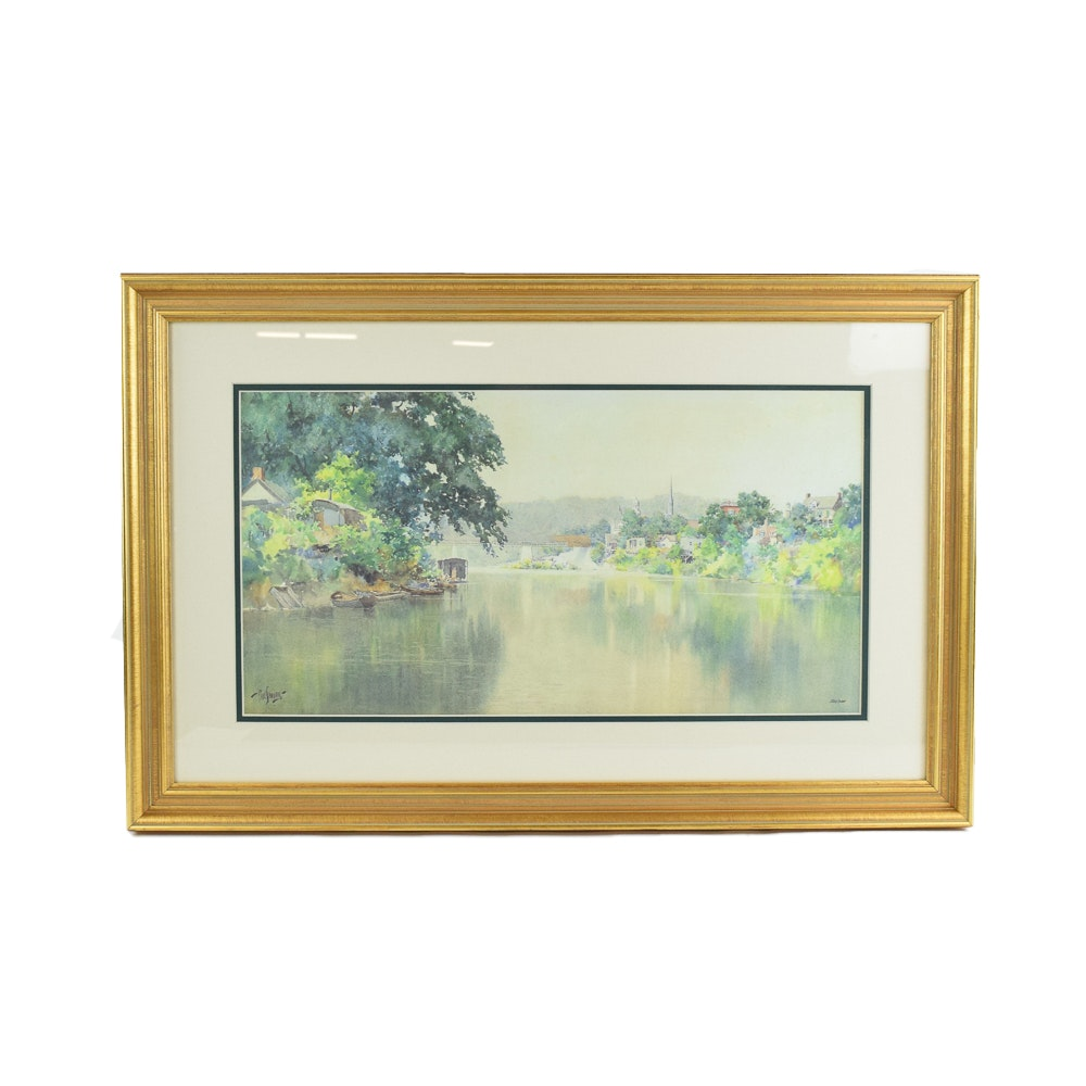 "Paul Sawyier Limited Edition ""Another River View of Frankfort"