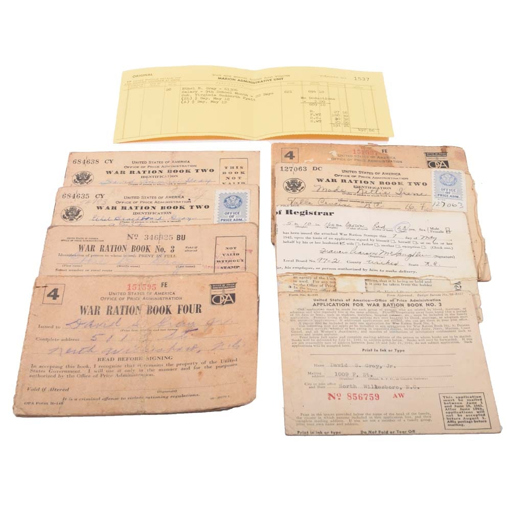 WWII Era Ration Cards