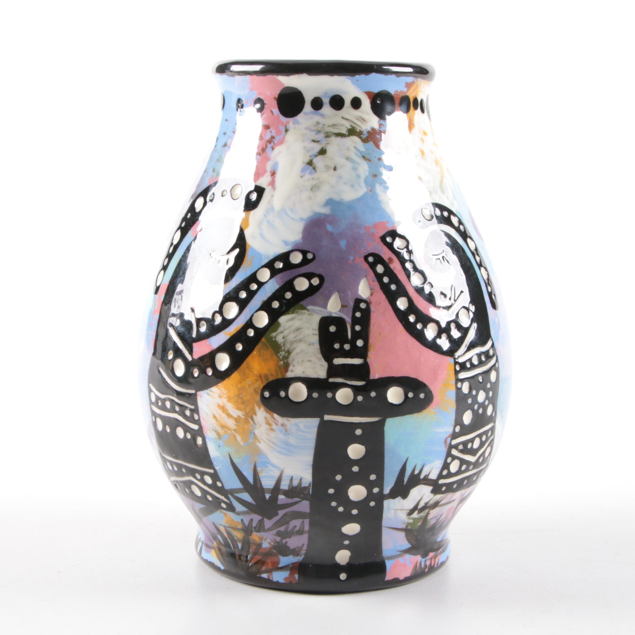 Vintage Hand-Painted William-Immanuel Apache Pottery Vase