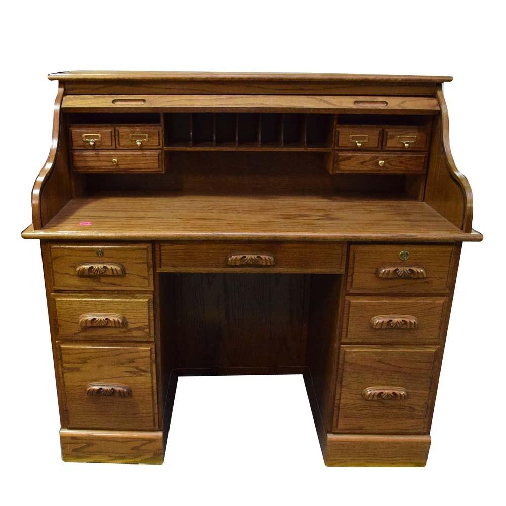 Reproduction Oak Roll Top Desk