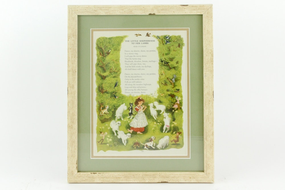 "Illustrated Children's Poem ""The Little Shepherdess to Her Lambs"""