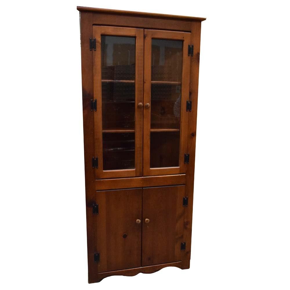 Vintage American Farmhouse Pine Corner Cabinet
