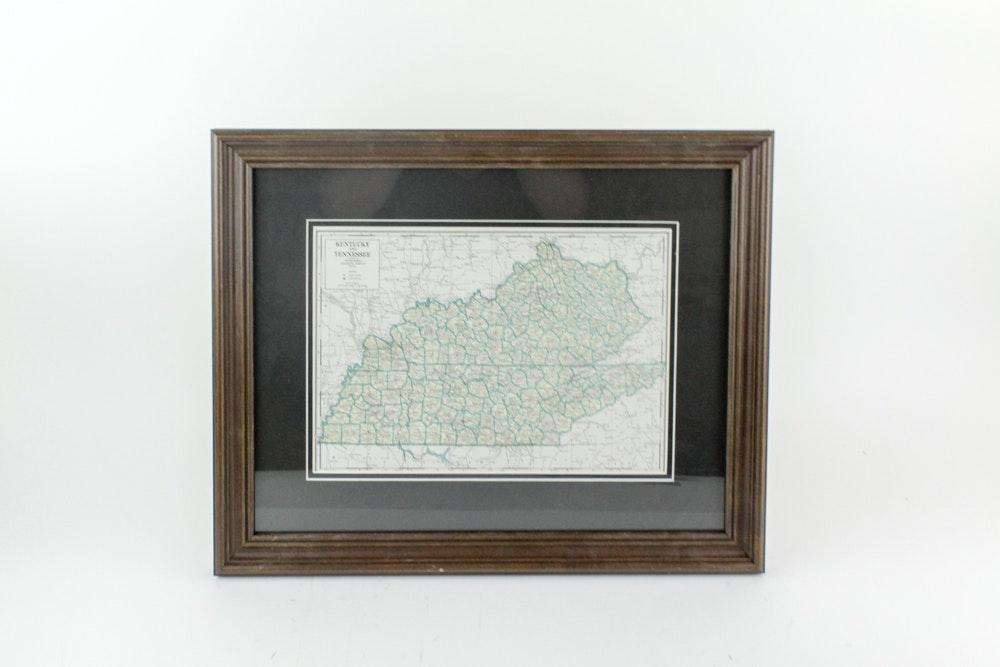 Original 1936 Engraved Kentucky Tennessee Map