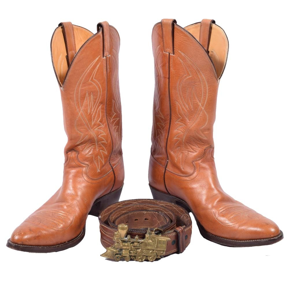 Men's Justin Brown Leather Cowboy Boots and Western Style Leather Belt