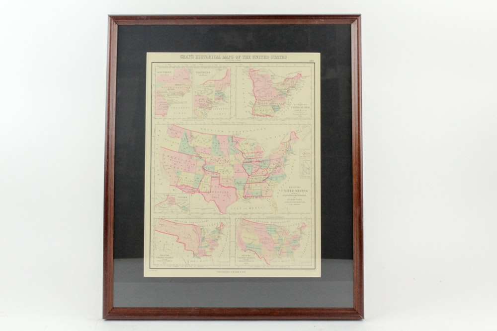 1876 Original Framed Grays Historical Maps of the United States.