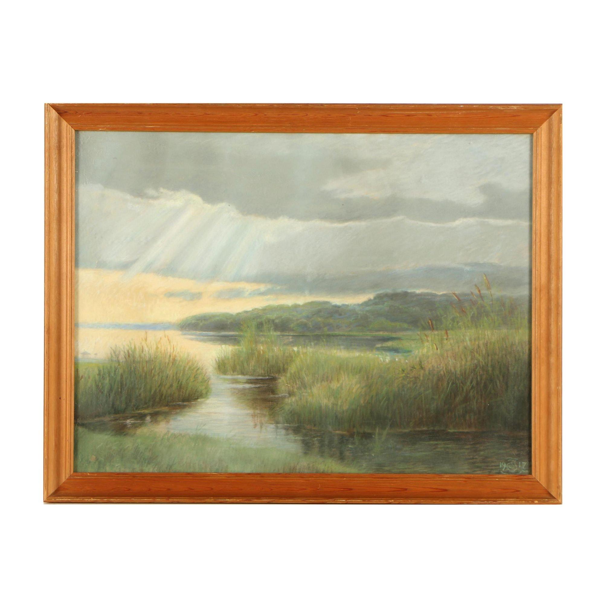 Pastel Drawing of a Lake