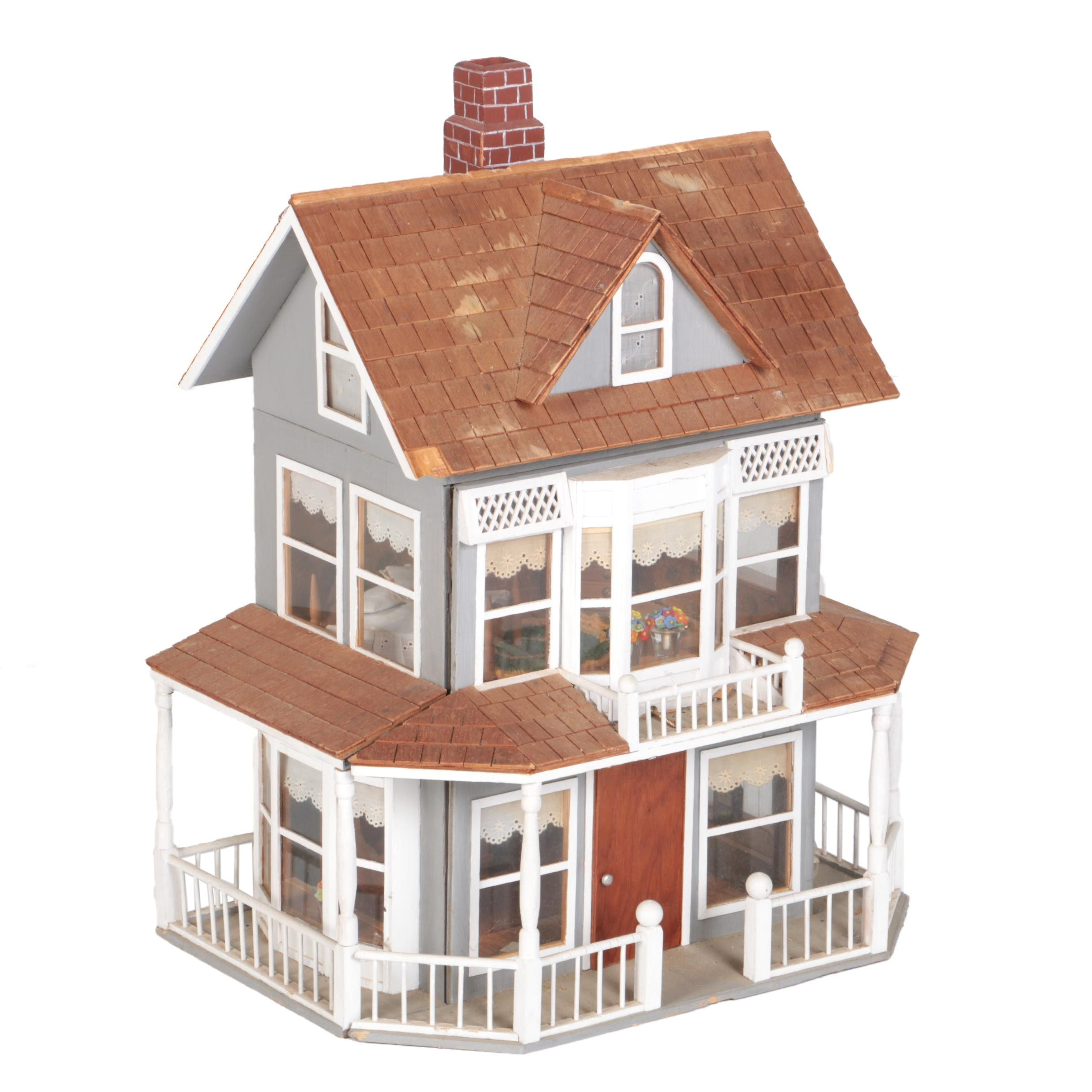 Vintage Wooden Dollhouse with Furnishings