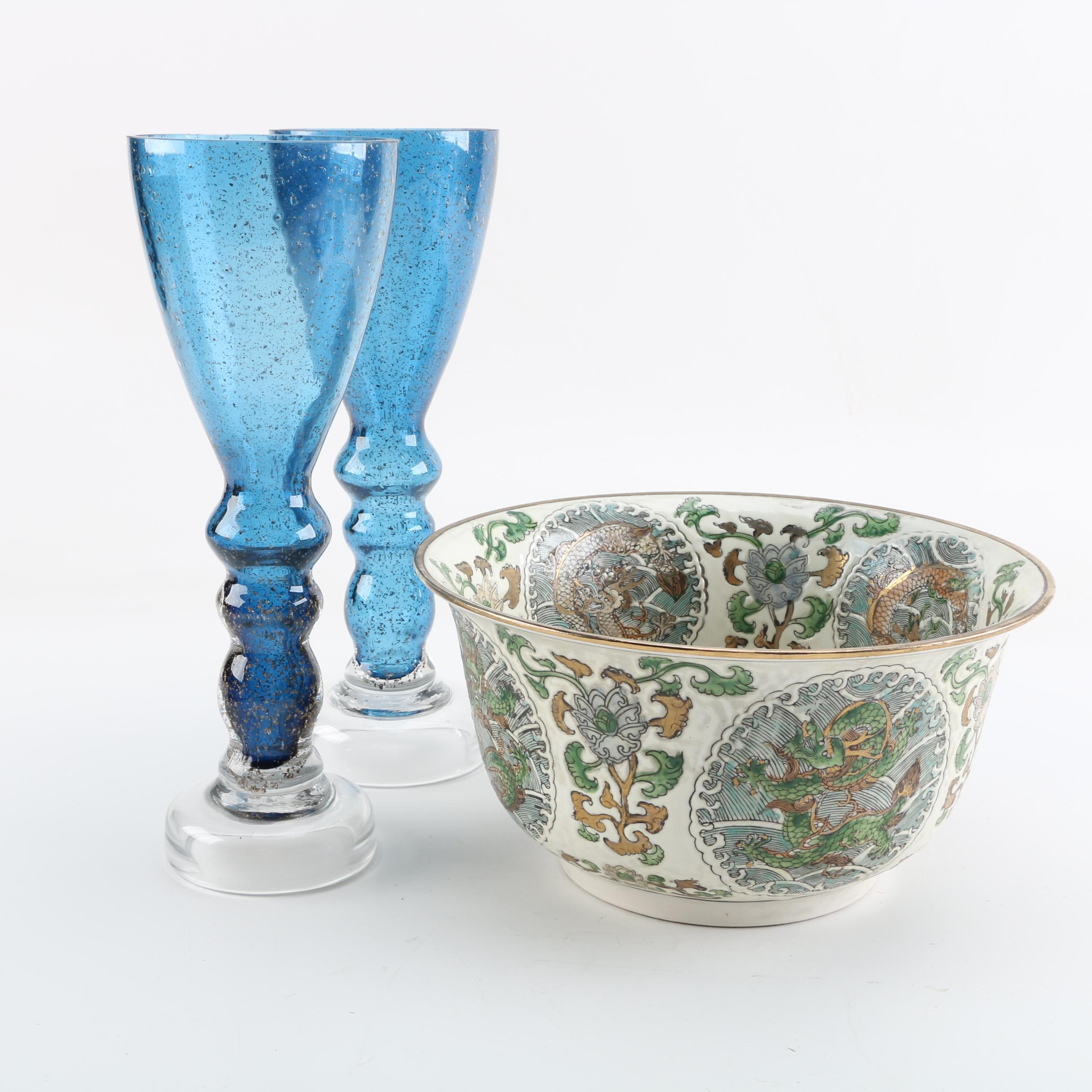 Chinese Hand-Painted Porcelain Bowl and Glass Candleholders