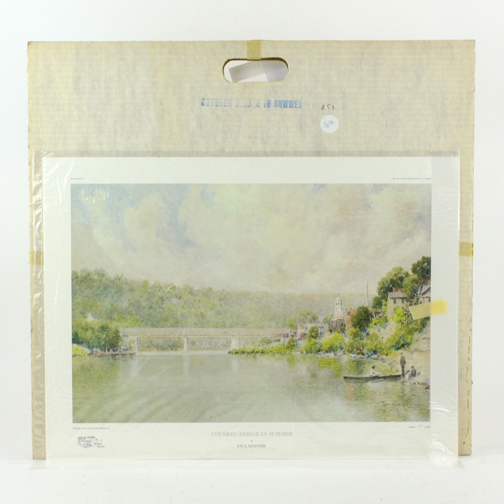 """Paul Sawyier Offset Lithograph """"Covered Bridge in Summer"""""""