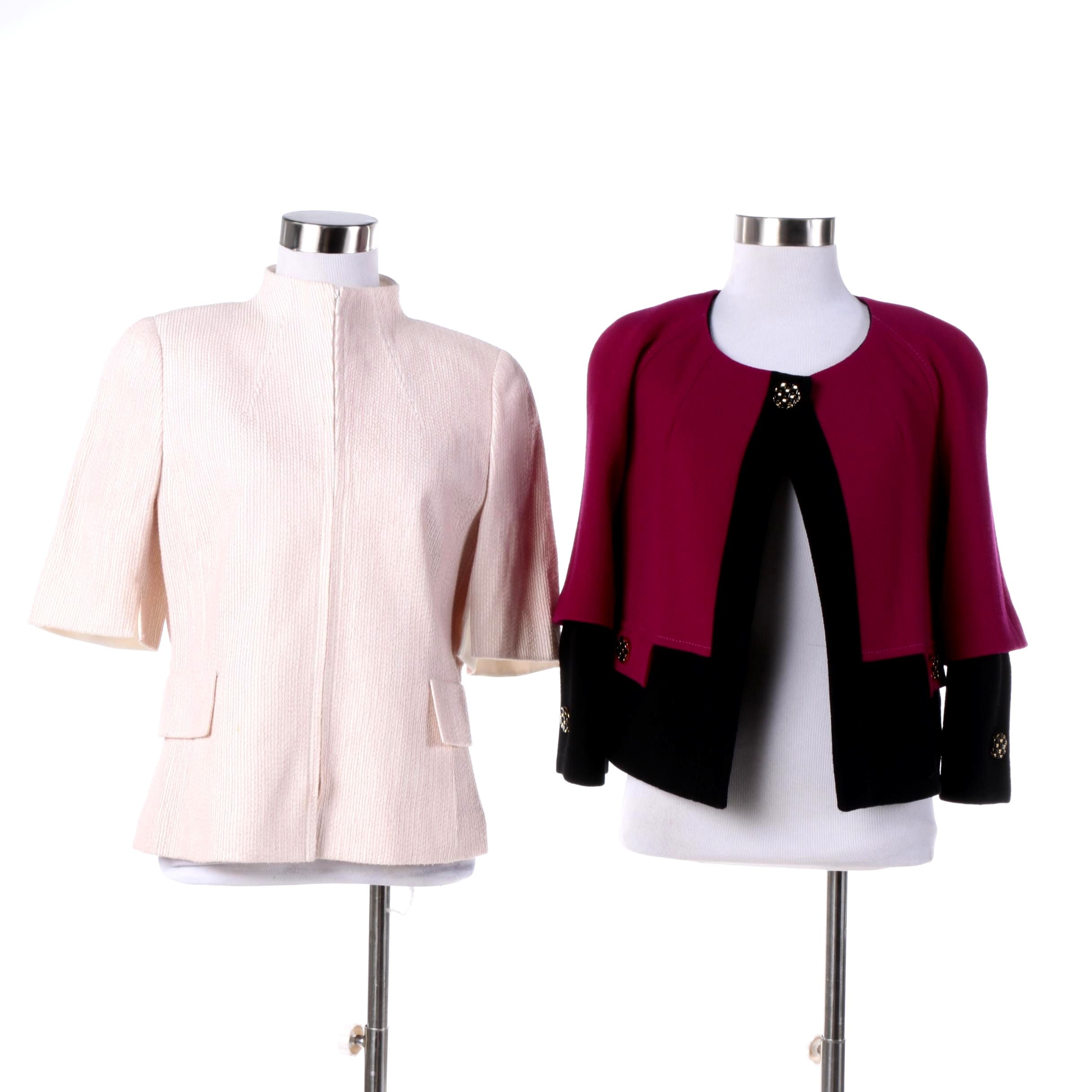 Akris Pink and White Silk Jacket and Weill Magenta and Black Wool Jacket