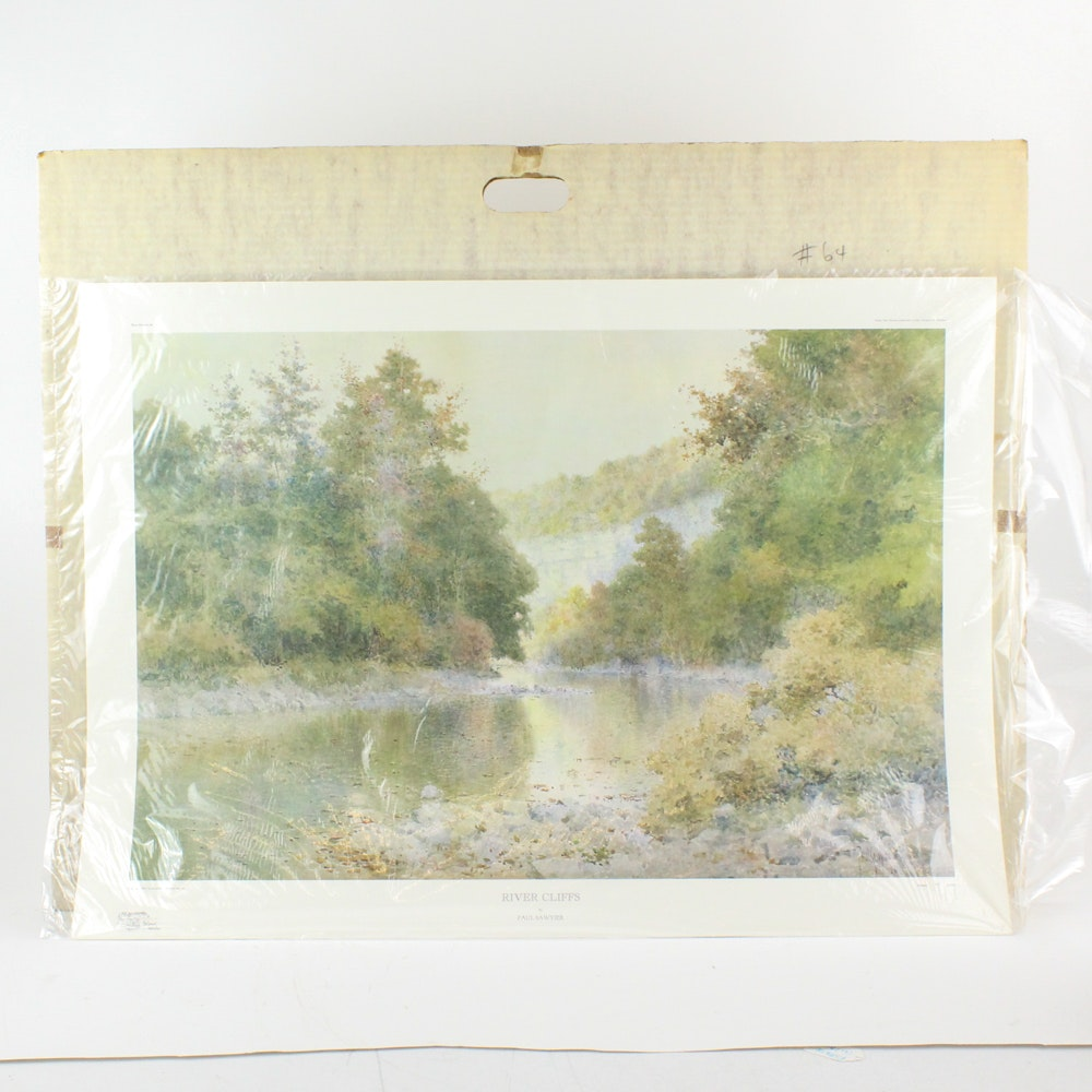 """Limited Edition Paul Sawyier Offset Lithograph """"River Cliffs"""""""