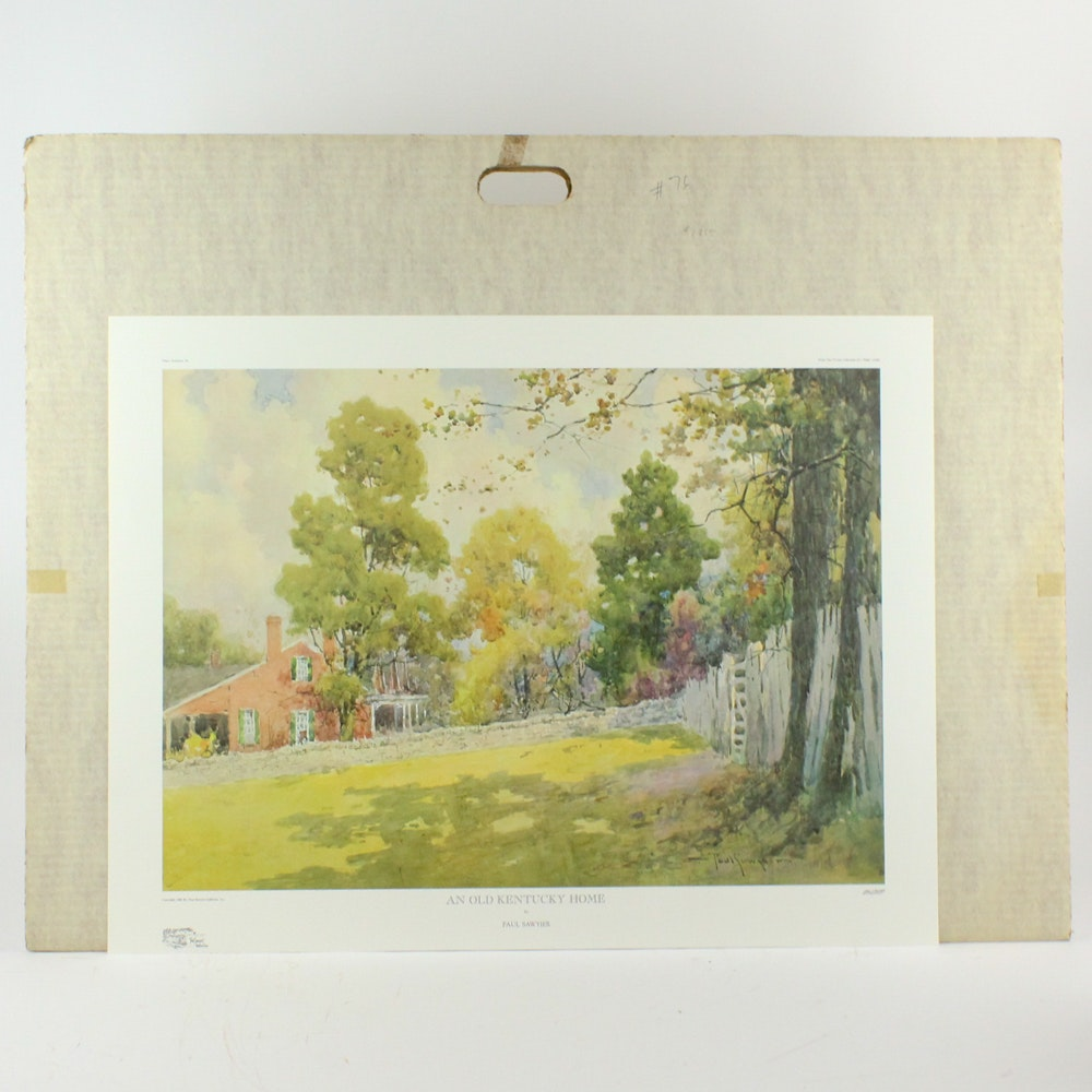 "Paul Sawyier Offset Lithograph "" An Old Kentucky Home"""