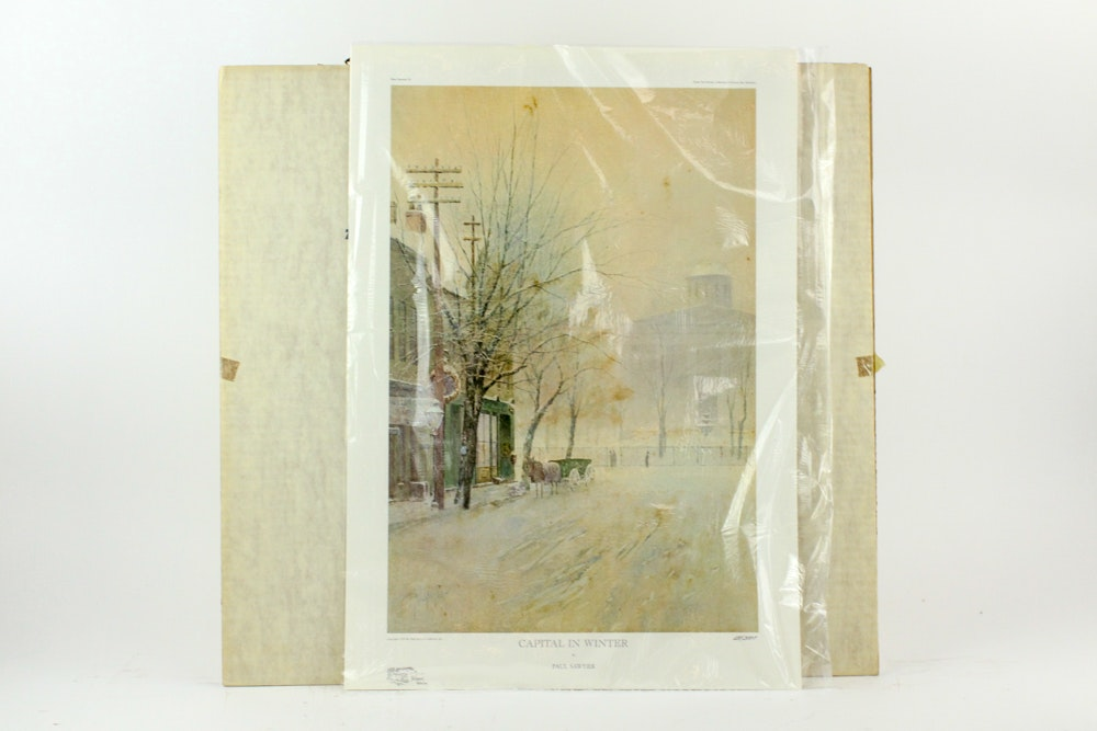 "Paul Sawyier Offset Lithograph ""Capital in Winter"""
