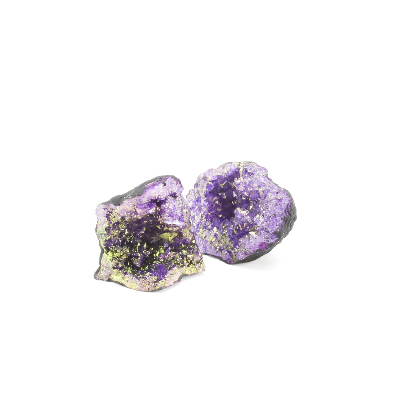 Pair of Moroccan Iridescent Purple Aura Quartz Geodes