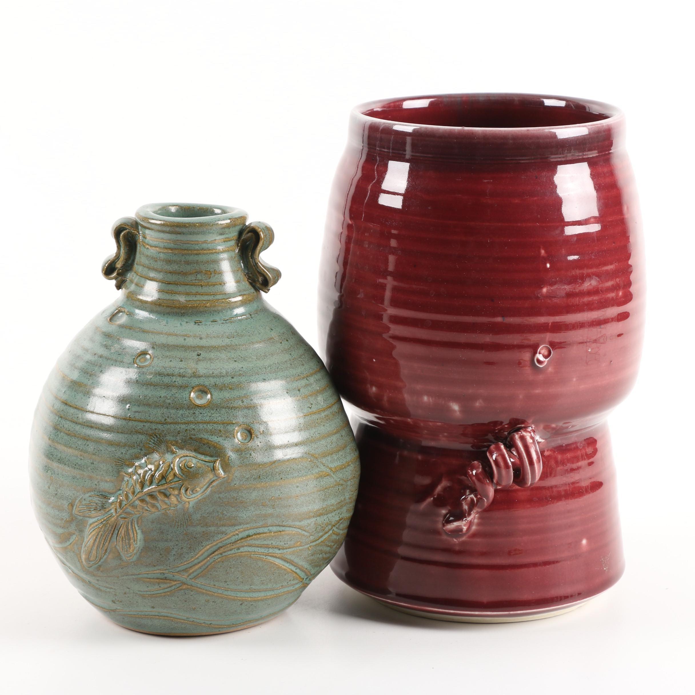 Signed Wheel Thrown Stoneware Vases