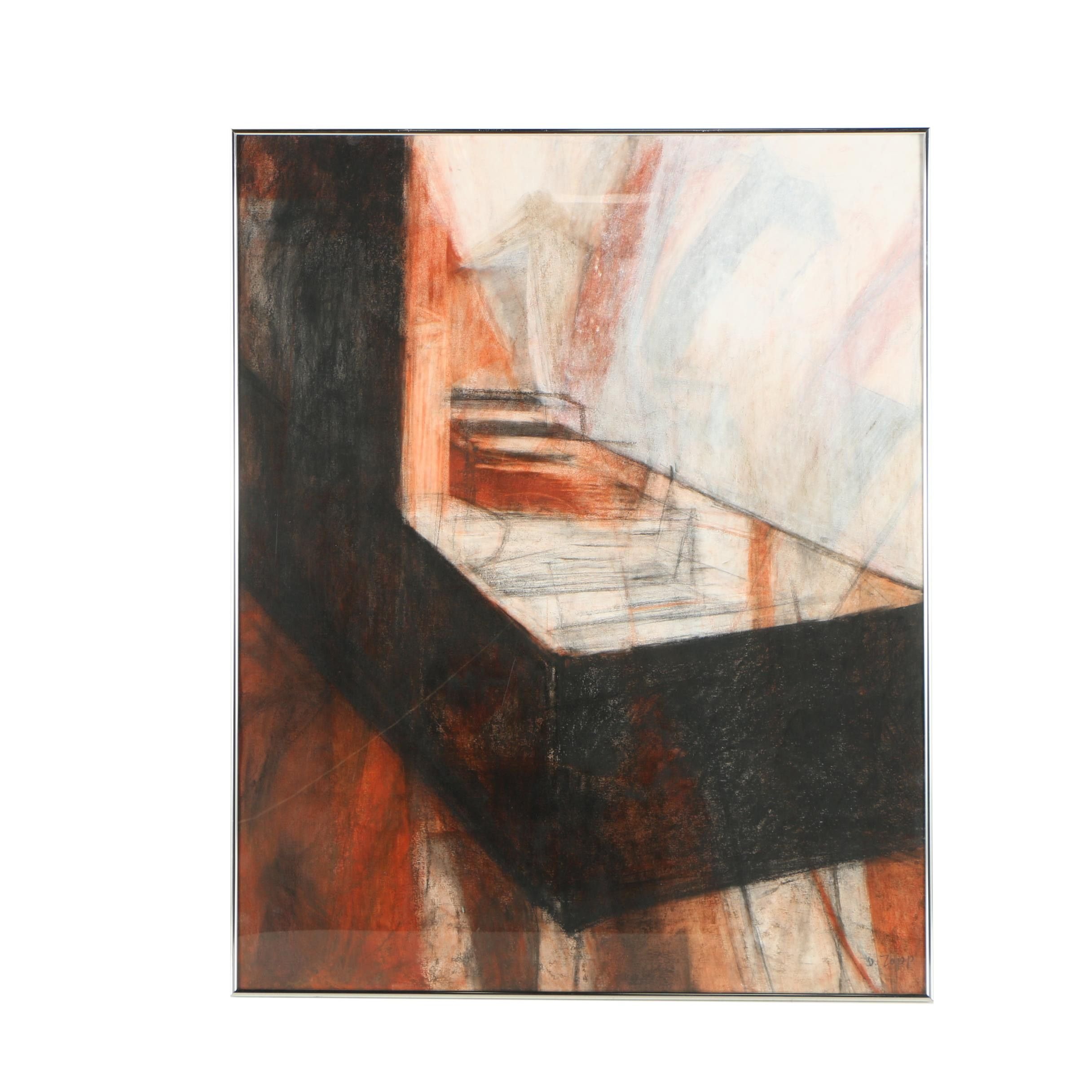 """Dudley Zopp Mixed Media Drawing """"Cities #3"""""""