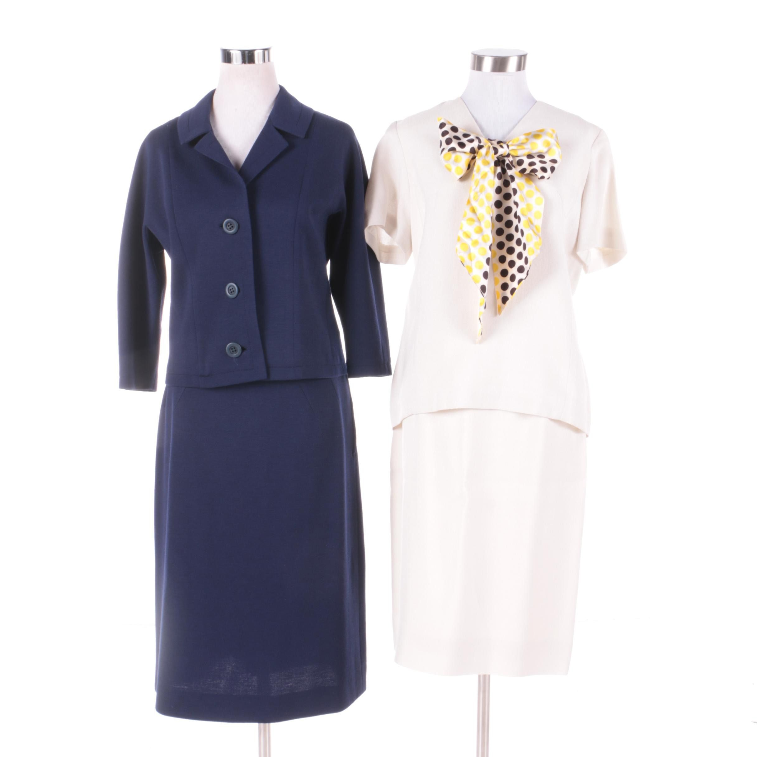 Mid-20th Century Navy and Cream Summer Skirt Suits Including Pierre Delaneau