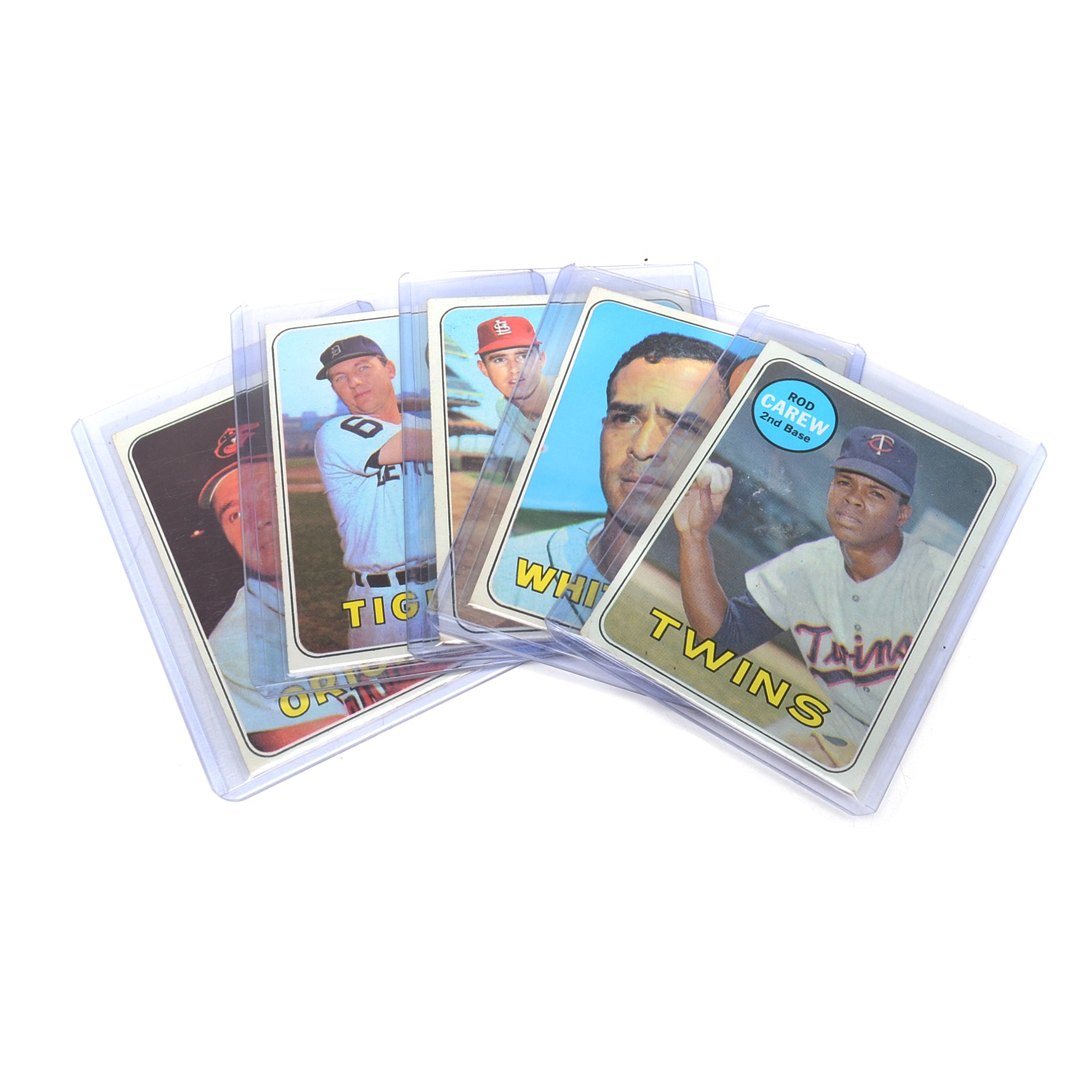 Five 1969 Topps Hall of Fame Player Baseball Cards
