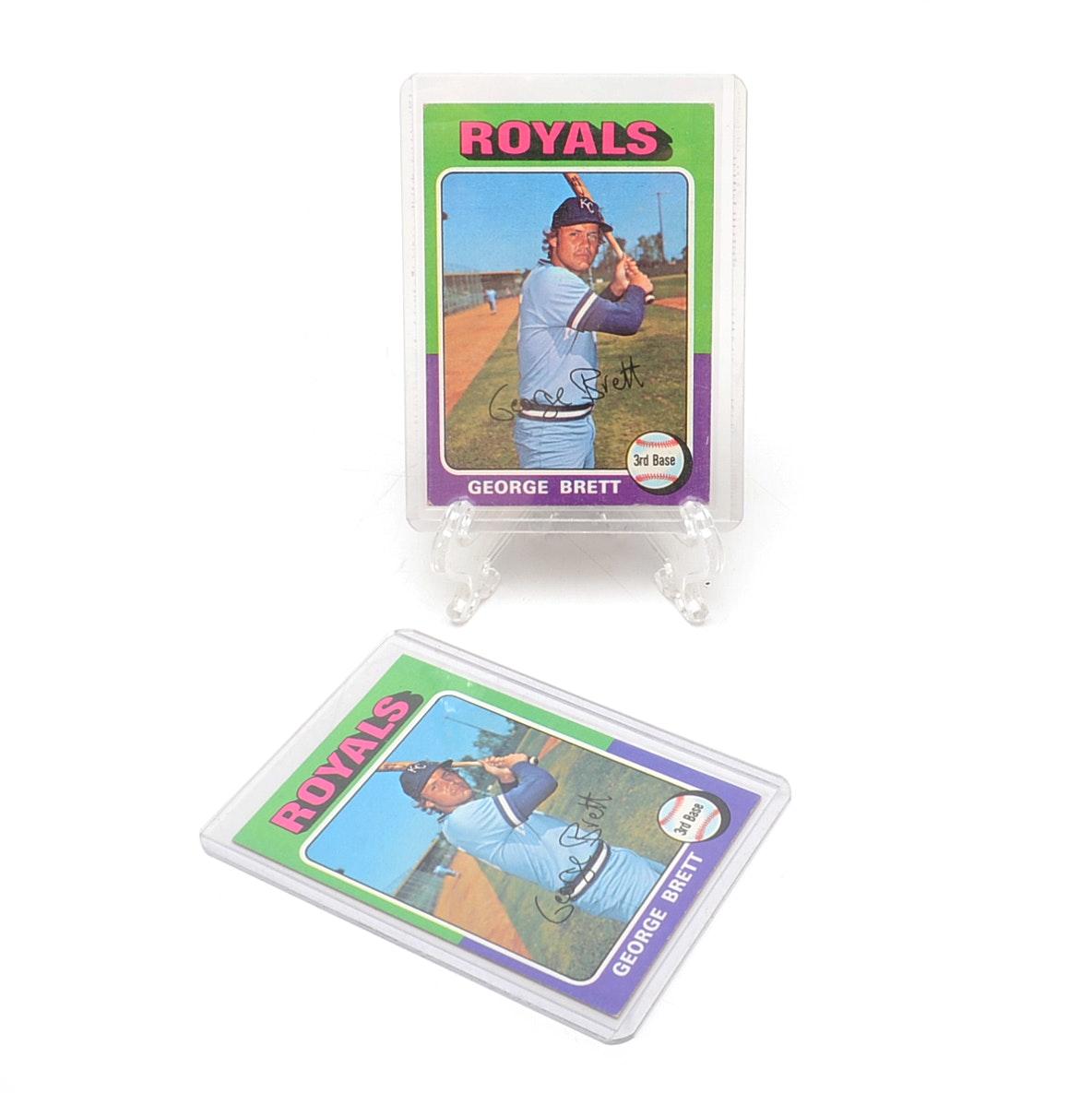 Pair of 1975 George Brett Topps Rookie Baseball Cards