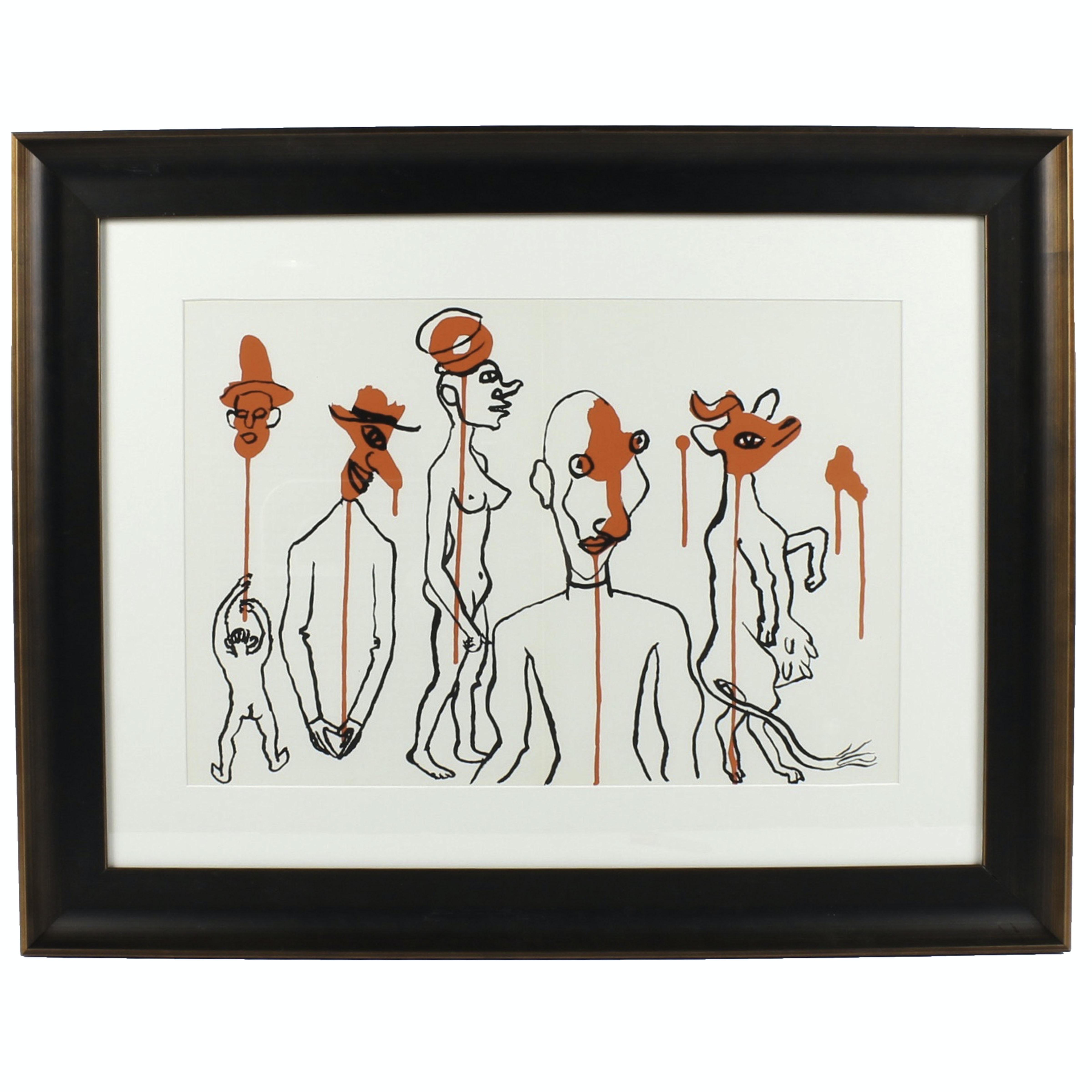 """Alexander Calder Lithograph for Derrière le Miroir """"Les Gueules Degoulinantes"""""""